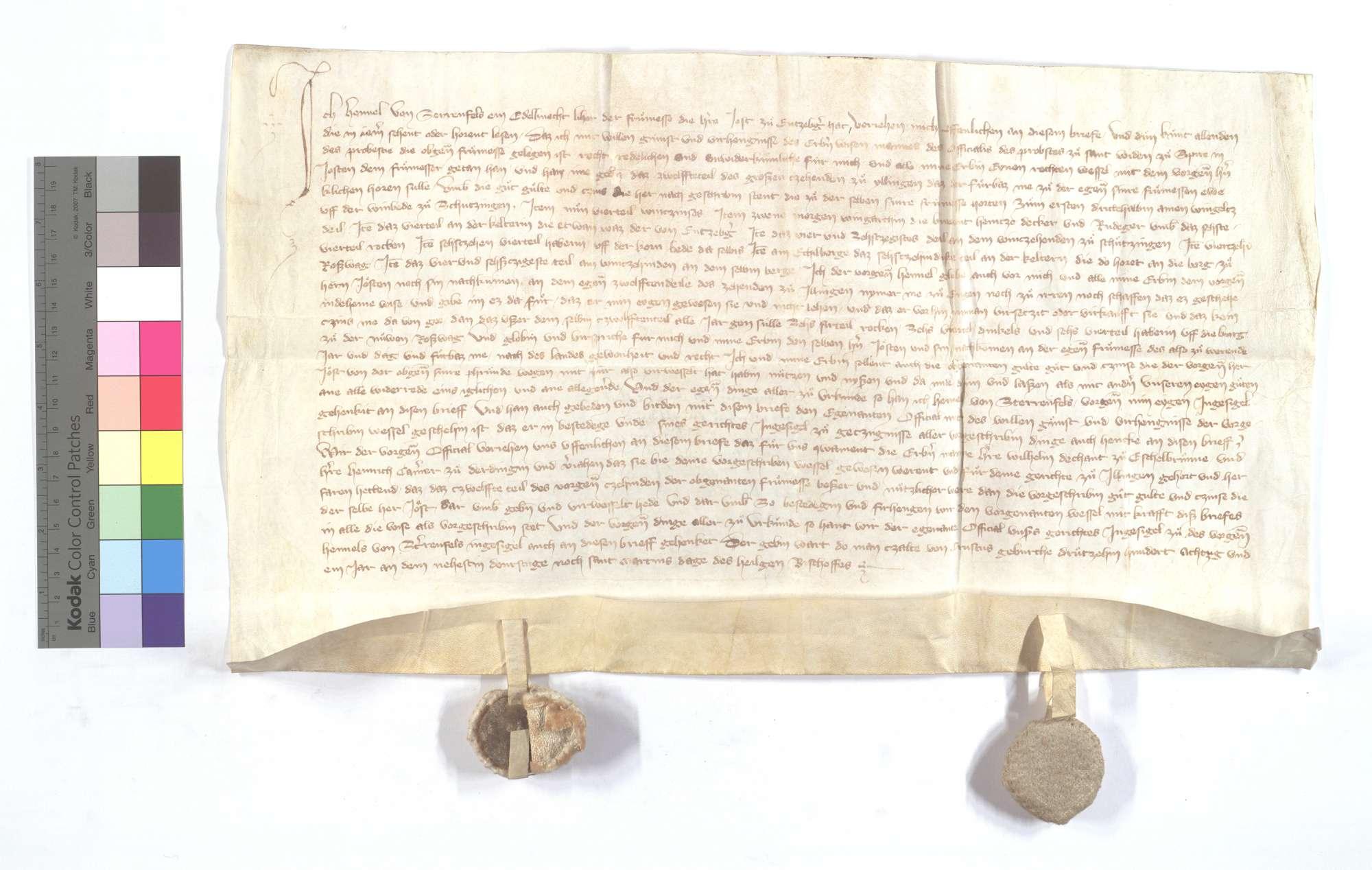 Henel von Sternenfels vertauscht sein 1/12 des Zehnten in Illingen gegen die der Frühmess in Enzberg gehörigen Frucht- und Weingülten sowie Güter in Schützingen (Schüzingen)., Text