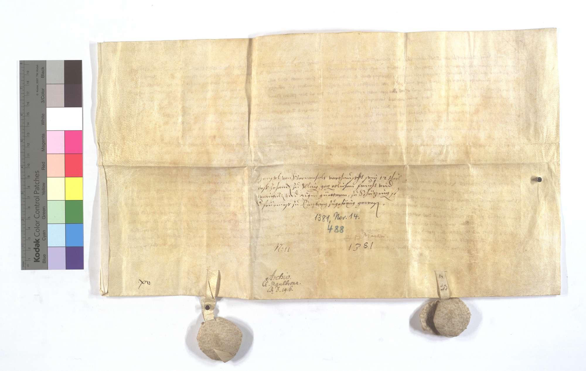 Henel von Sternenfels vertauscht sein 1/12 des Zehnten in Illingen gegen die der Frühmess in Enzberg gehörigen Frucht- und Weingülten sowie Güter in Schützingen (Schüzingen)., Rückseite
