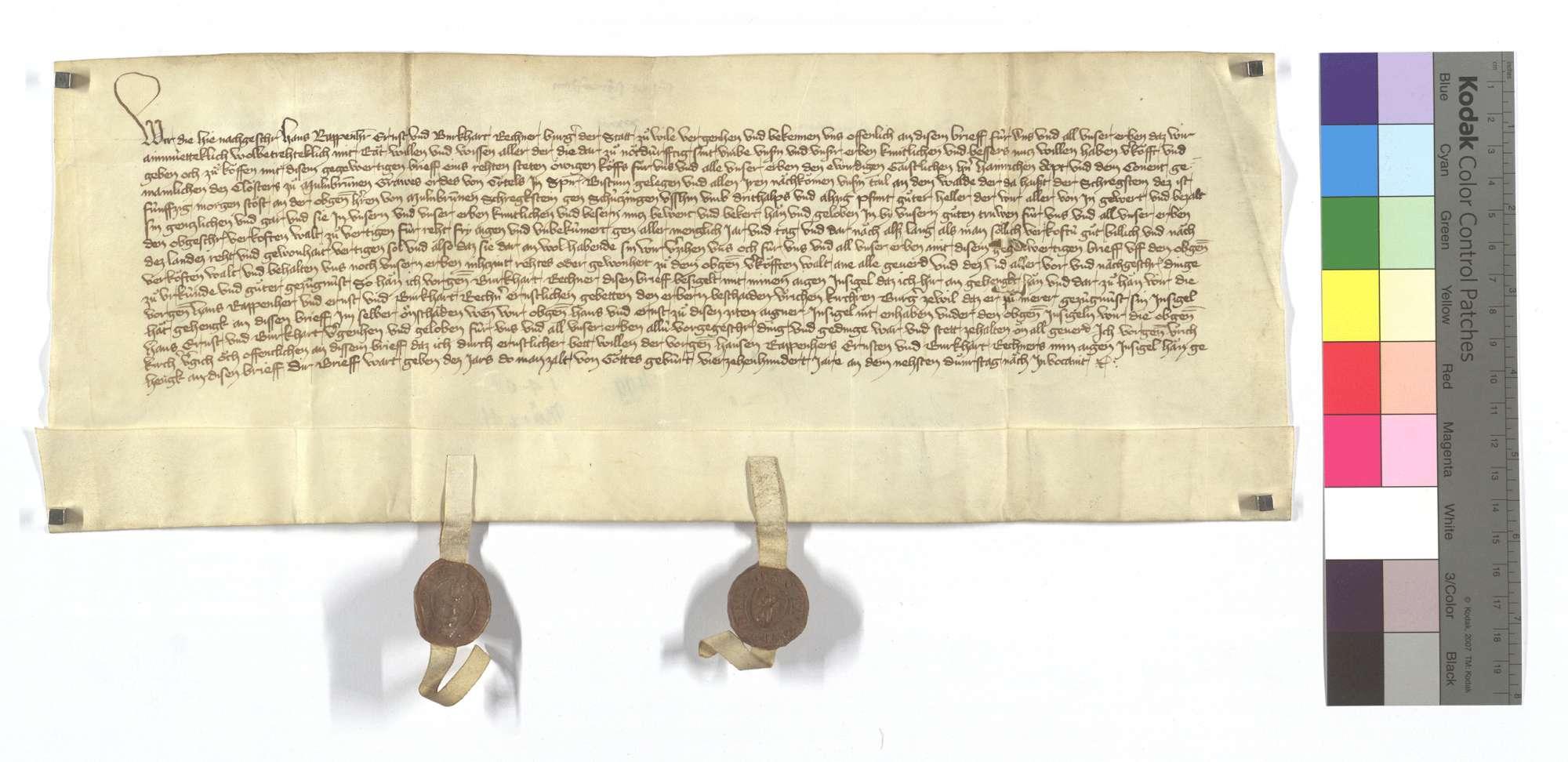 Hans Rappenherr und Konsorten von Weil (Weyl) der Stadt verkaufen dem Kloster Maulbronn 50 Morgen Wald am Scheckstein in Schützingen (Schüzingen)., Text