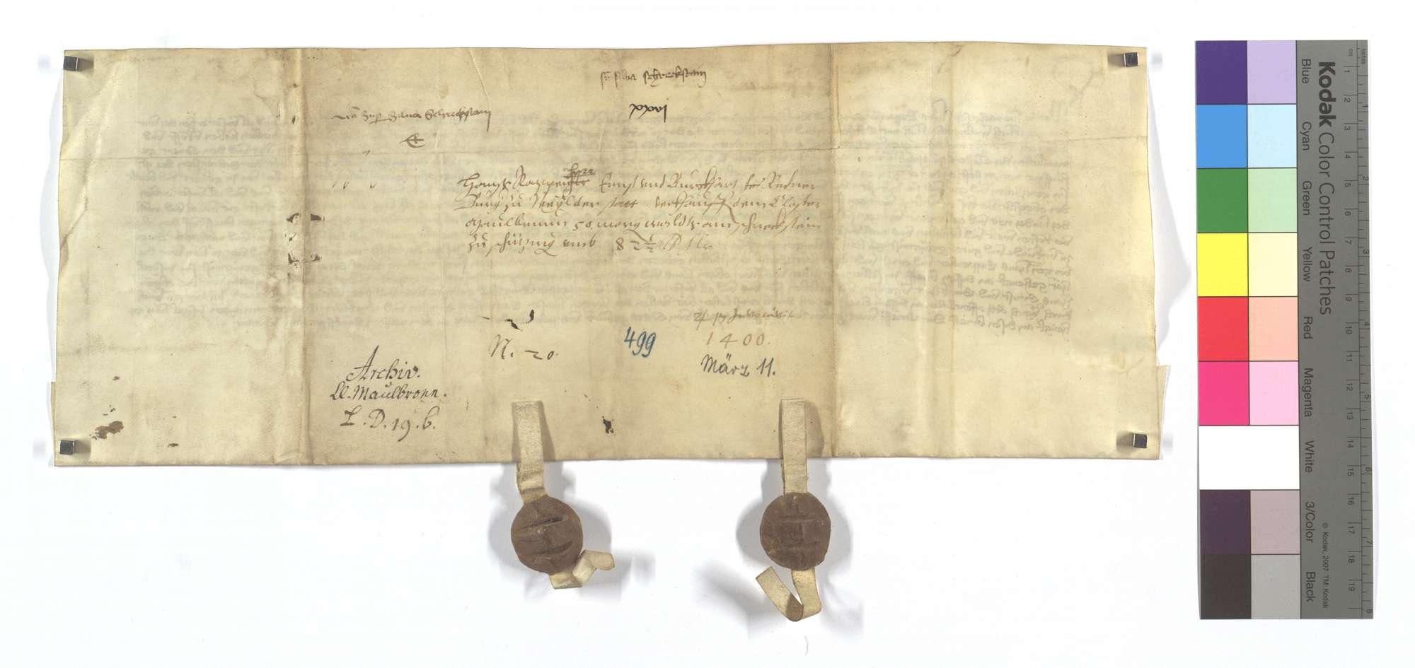 Hans Rappenherr und Konsorten von Weil (Weyl) der Stadt verkaufen dem Kloster Maulbronn 50 Morgen Wald am Scheckstein in Schützingen (Schüzingen)., Rückseite