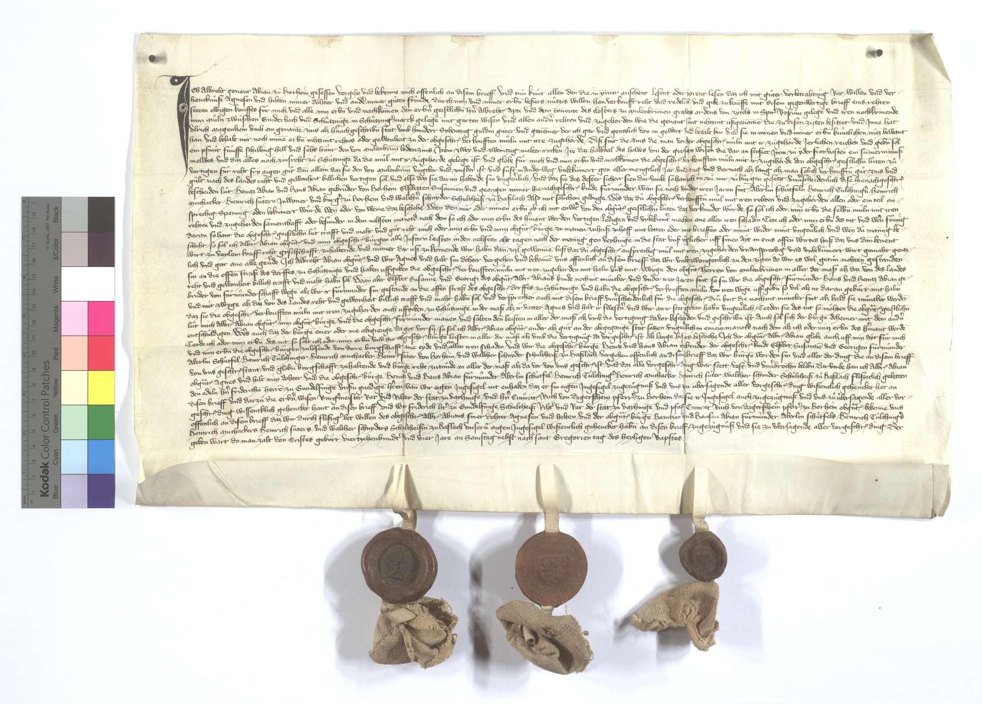 Albrecht, genannt Abian, von Horrheim verkauft dem Kloster Maulbronn seine Mühle zwischen Schützingen und Gündelbach mit den zugehörigen Gütern und Gerechtsamen., Text
