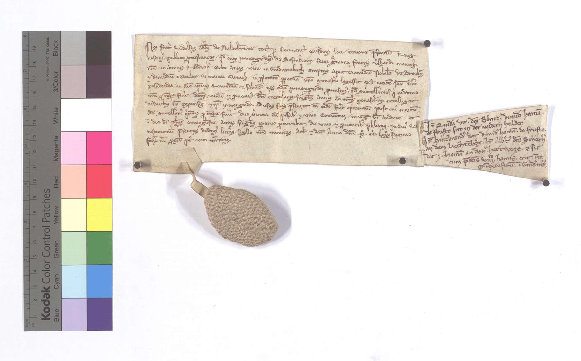 Abt Rudolf und Konvent von Maulbronn beurkunden, dass Irmengard von Besigheim (Besinkeim), die Schwester ihres Konventsbruders Ulhard, ihrem Kloster in jährlichen Gülten 8 Ohm Wein in Gündelbach (Gindratebach), die sie von dem Edlen Konrad von Branburg1 gekauft hat, und die halbe Kelter in Großgartach um ihres Seelenheils willen vermacht hat, und versprechen, dass der Unterkeller des Klosters den Wein und die Einkünfte der Kelter alljährlich einsammeln und nach Abzug der Kosten der Irmengard zur Verfügung stellen soll. Nach deren Tod soll der Unterkeller davon jährlich zweimal, an St. Andreas Abend und an Johannis des Evangelisten Tag, dem Konvent Fische und Wein geben., Text