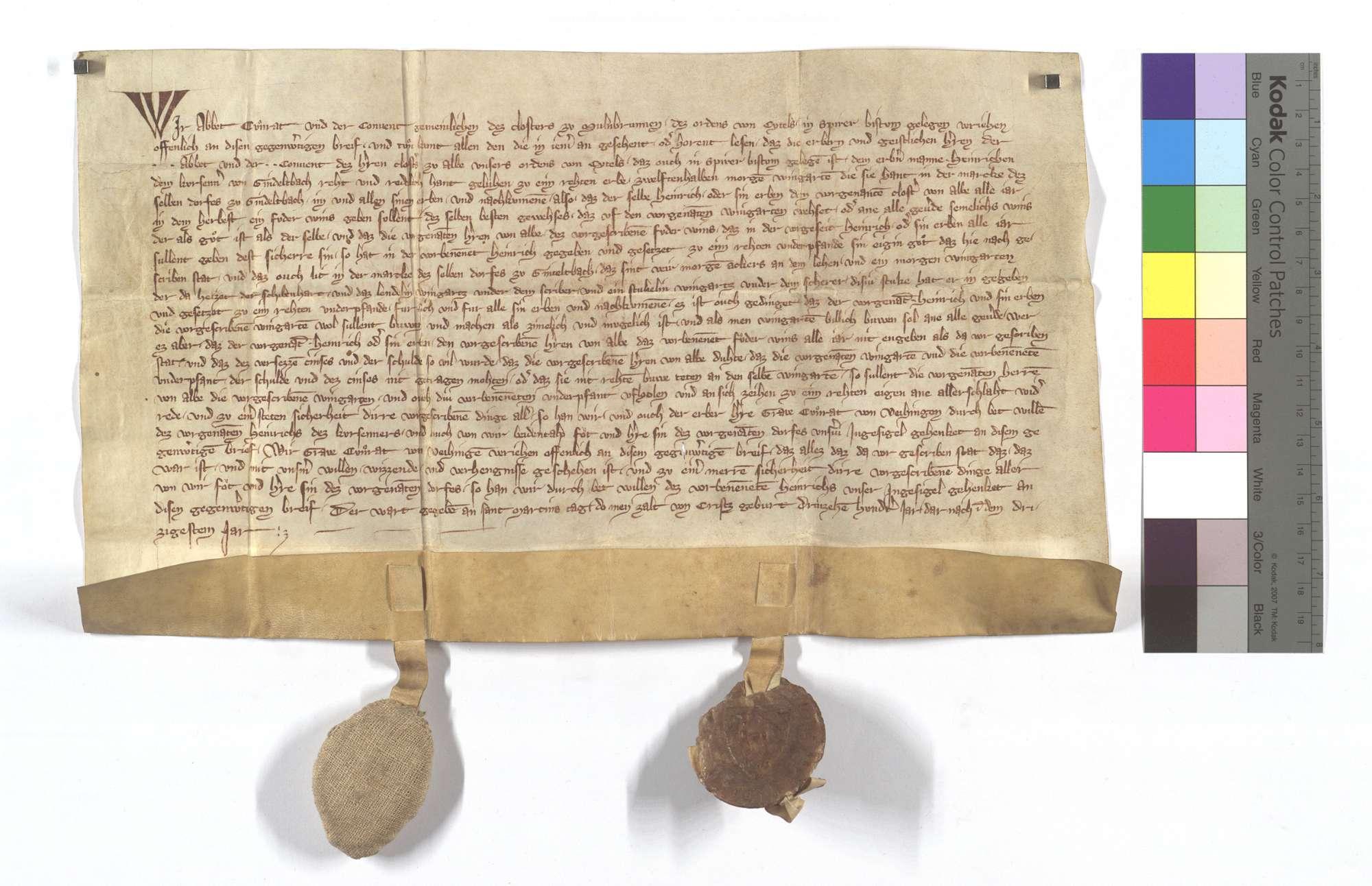 Urkunde des Abts Conrad für Heinrich Kürsener von Gündelbach, welchem das Kloster Herrenalb seine 14 Morgen Weingarten in der Markung des Dorfes Gündelbach zu einem Erblehen geliehen hat., Text
