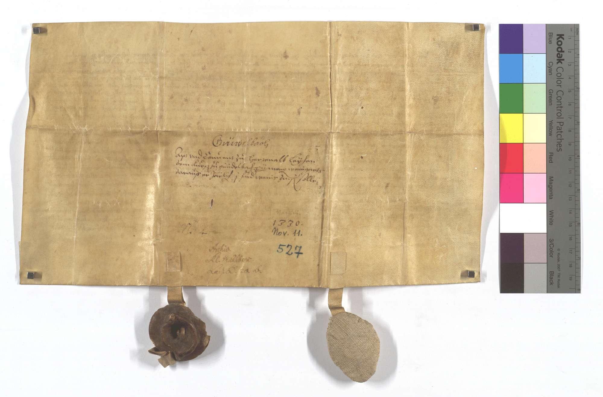 Urkunde des Abts Conrad für Heinrich Kürsener von Gündelbach, welchem das Kloster Herrenalb seine 14 Morgen Weingarten in der Markung des Dorfes Gündelbach zu einem Erblehen geliehen hat., Rückseite