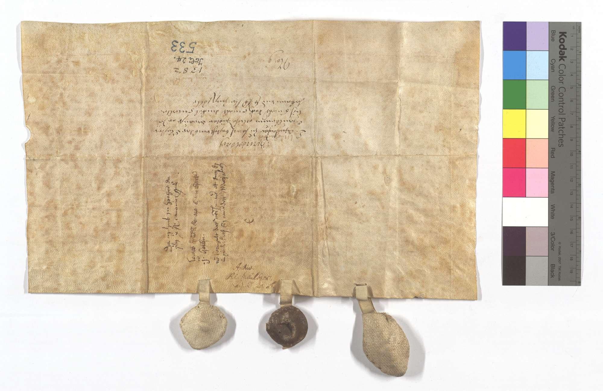 Revers Conrad Muchakkers von Horrheim um etliche Güter zu Gündelbach, aus denen er dem Kloster jährlich 6 Malter Roggen, 5 Malter Dinkel und 5 Malter Hafer (Habern) sowie 4 1/2 Pfund Heller Zins zu geben hat., Rückseite
