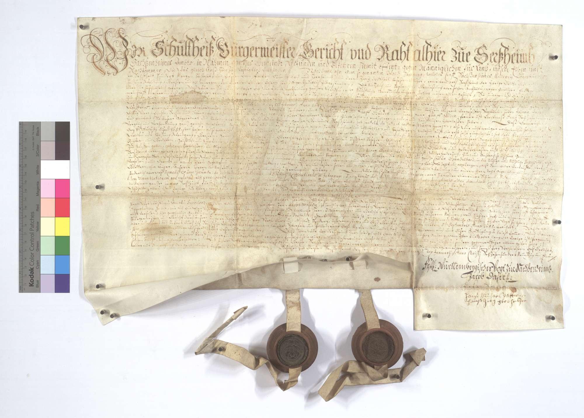 Erneuerung eines Kaufbriefs über den Verkauf eines Anteils vom Wald Hamberg seitens der Gemeinde Sersheim an die Gemeinde Gündelbach., Text