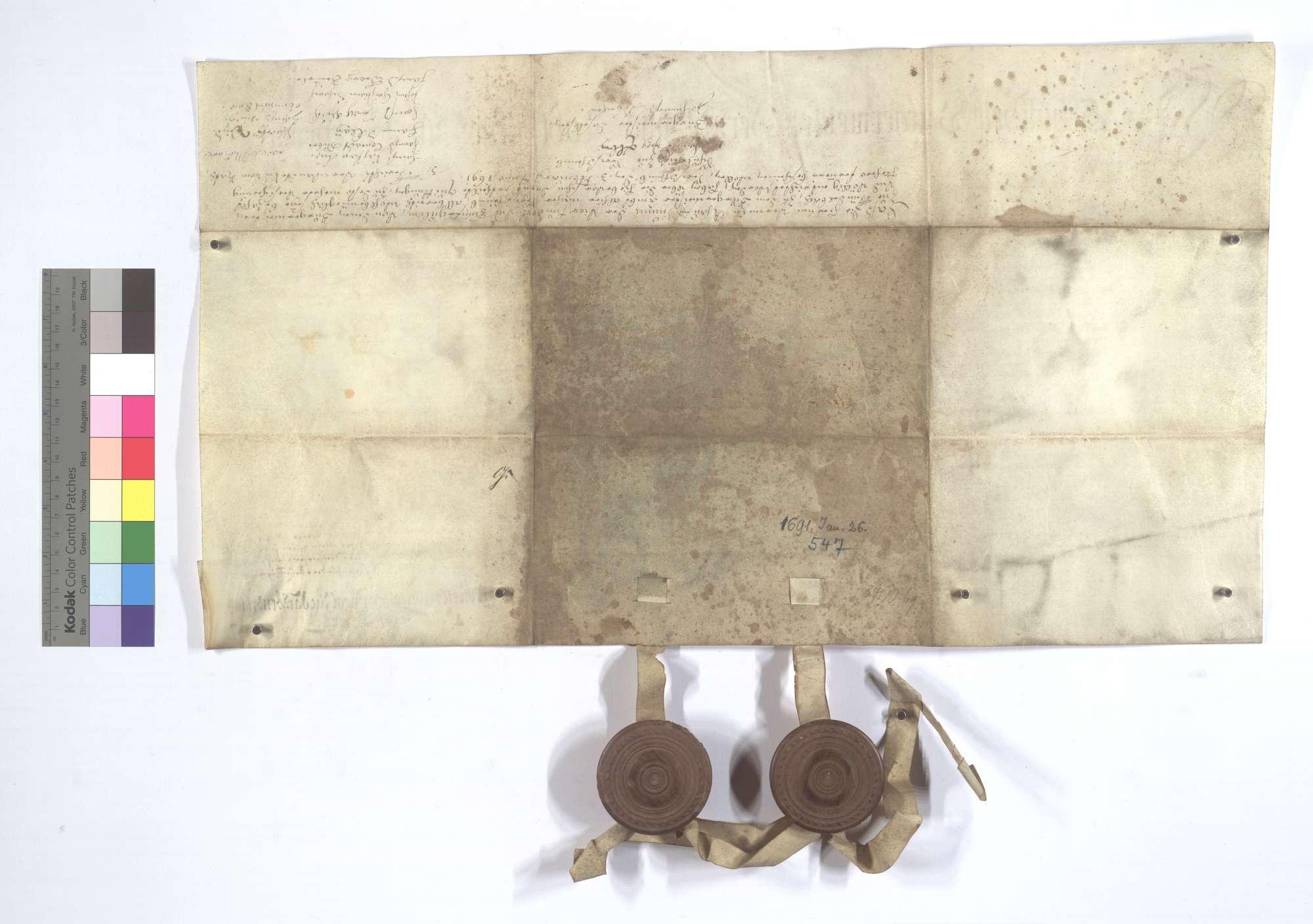 Erneuerung eines Kaufbriefs über den Verkauf eines Anteils vom Wald Hamberg seitens der Gemeinde Sersheim an die Gemeinde Gündelbach., Rückseite