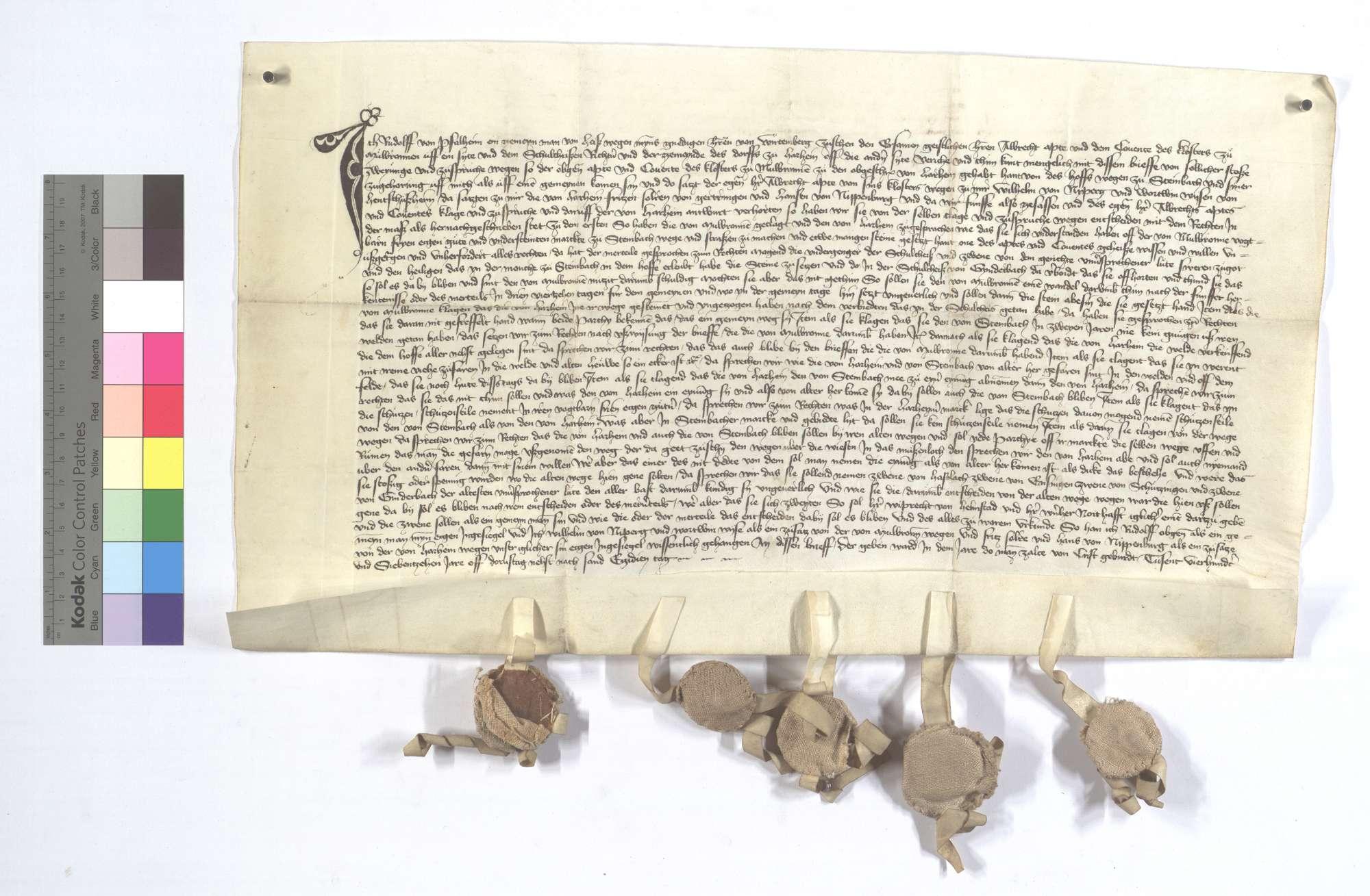 Vereinbarung (Richtung) zwischen dem Kloster Maulbronn und der Kommune Horrheim wegen des Hofs Steinbach und dessen Zugehörungen., Text