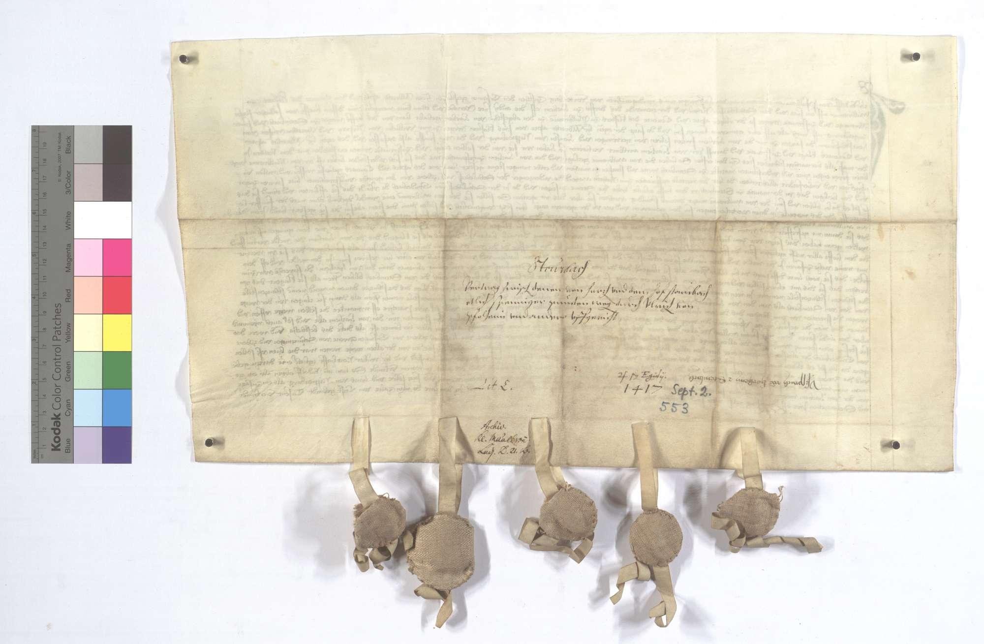 Vereinbarung (Richtung) zwischen dem Kloster Maulbronn und der Kommune Horrheim wegen des Hofs Steinbach und dessen Zugehörungen., Rückseite