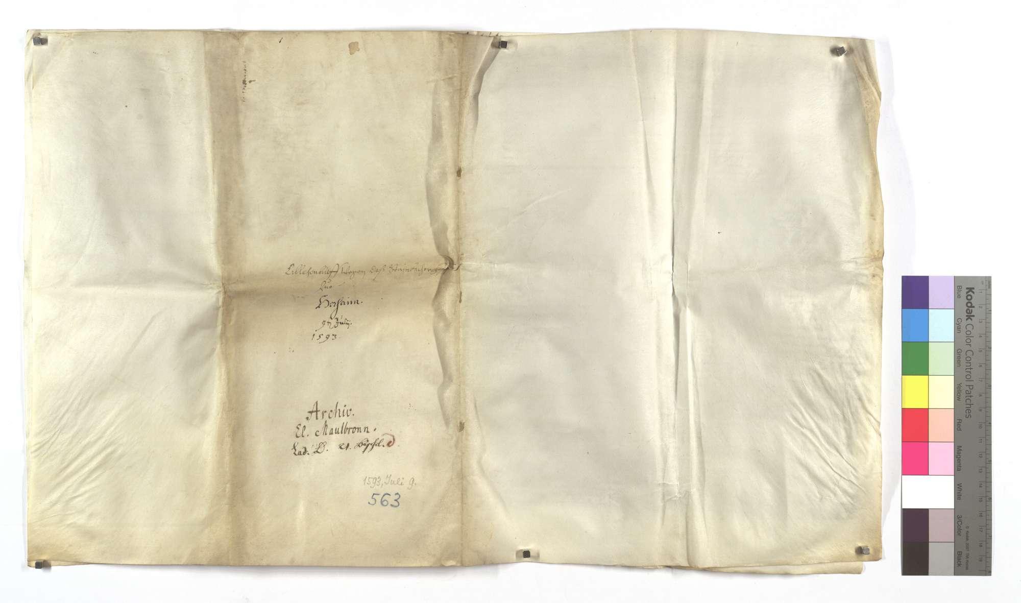 Lehensbrief der Kommune Horrheim um des Klosters Maulbronn eigentümlichen Hof Steinbach mit dazugehörigem Zubehör (cum pertinentiis)., Bild 1
