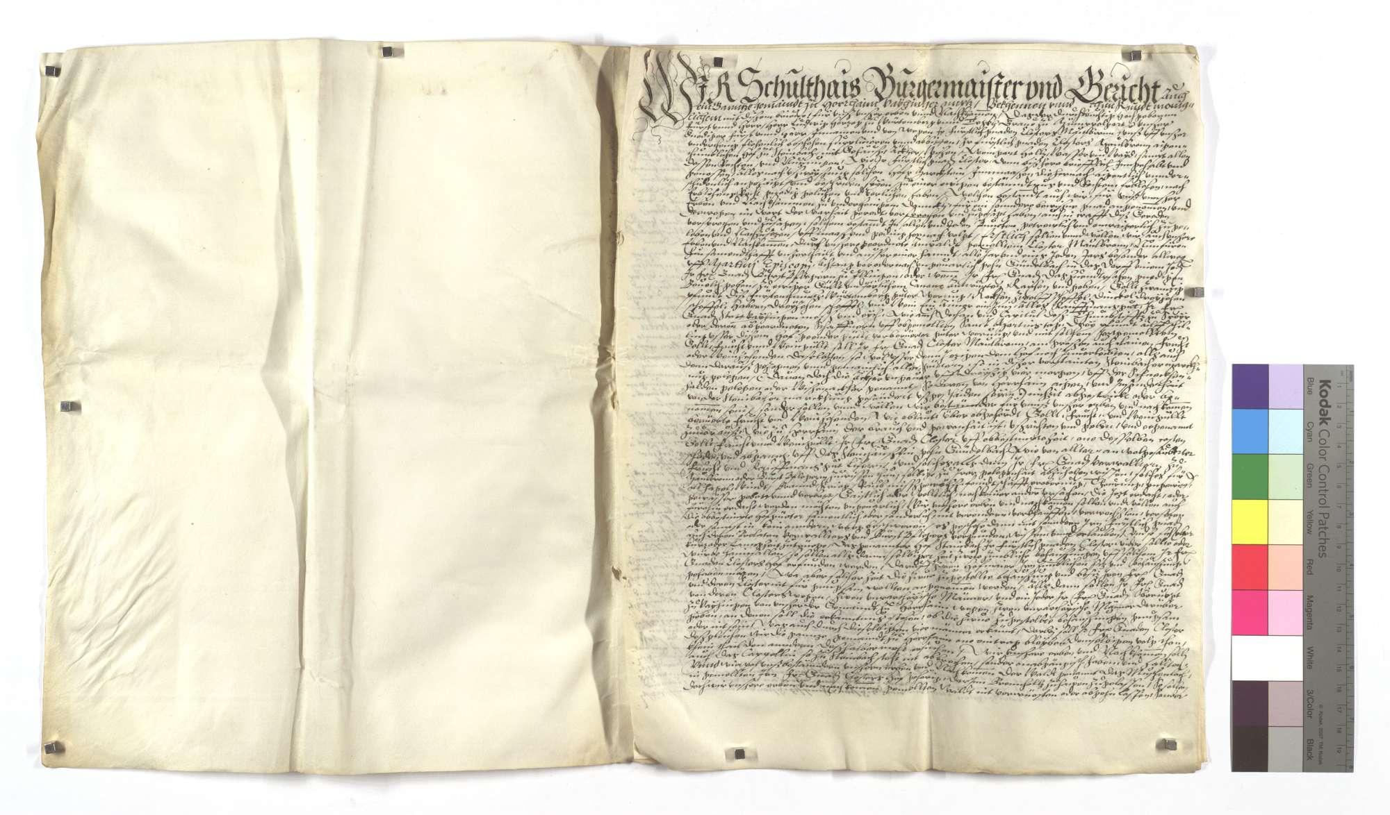 Lehensbrief der Kommune Horrheim um des Klosters Maulbronn eigentümlichen Hof Steinbach mit dazugehörigem Zubehör (cum pertinentiis)., Bild 2