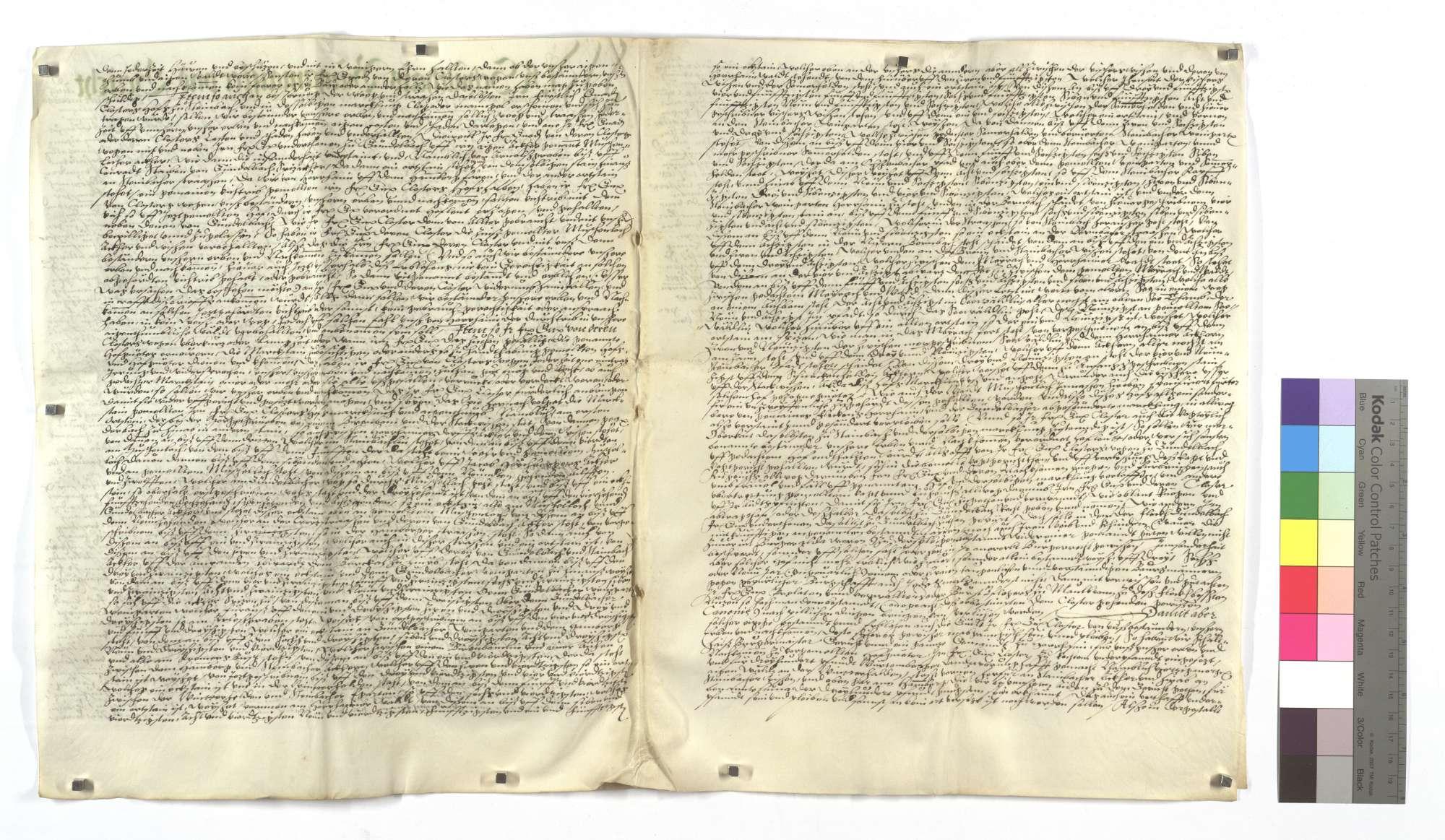 Lehensbrief der Kommune Horrheim um des Klosters Maulbronn eigentümlichen Hof Steinbach mit dazugehörigem Zubehör (cum pertinentiis)., Bild 3