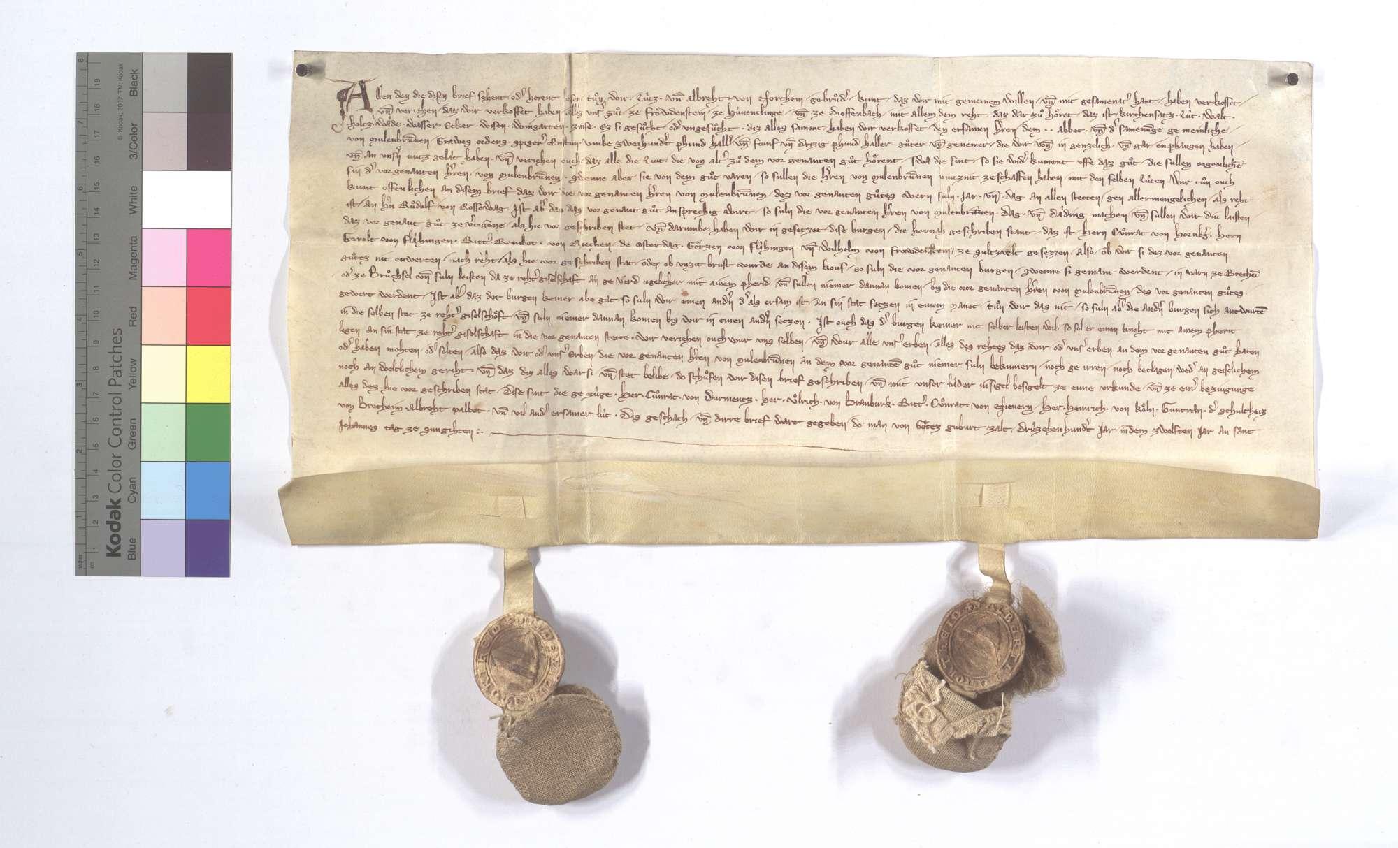 Lutz und Albrecht von Nordheim verkaufen dem Kloster Maulbronn alle ihre Gerechtsame, Zins und Gülten in Freudenstein und Dieffenbach., Text
