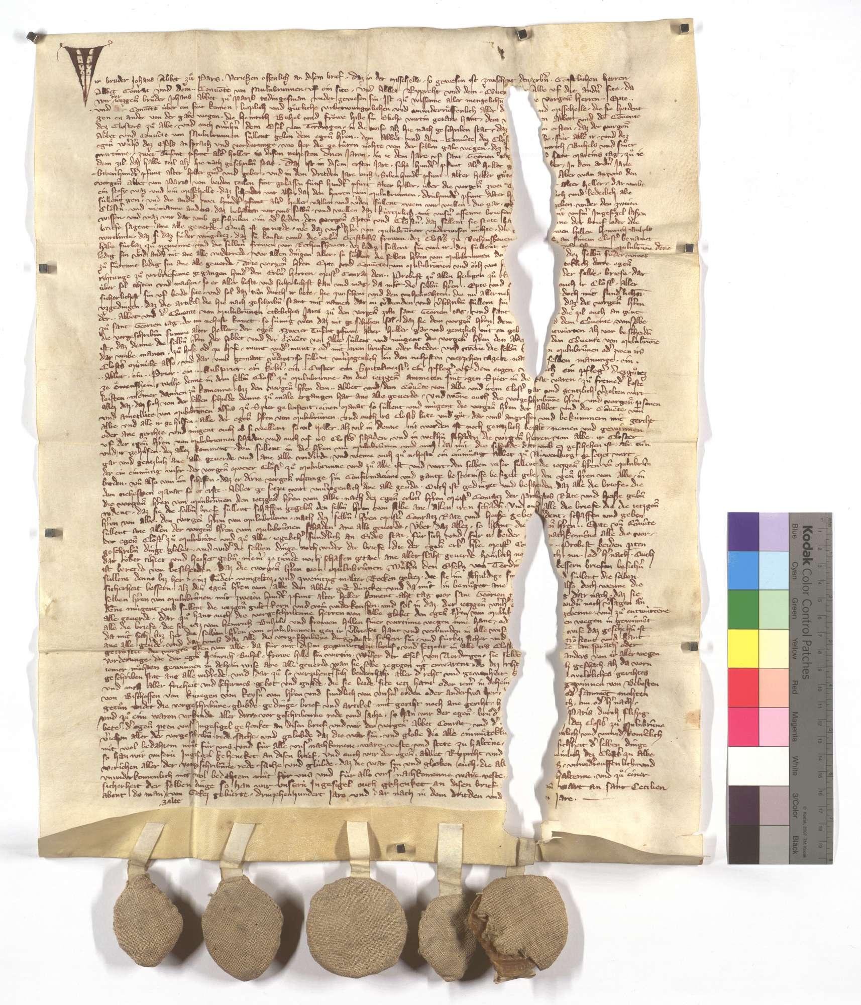 Fertigung des Abts Johann von Pairis zwischen den beiden Klöstern Maulbronn und Herrenalb wegen etlicher von Heinrich Bühel und seiner Frau dem Kloster Herrenalb vermachten Zinsen und Gülten., Text