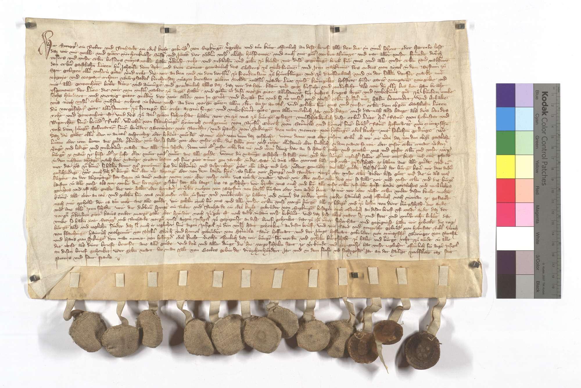 Schwicker (Swigger) und Reinhard von Sickingen verkaufen dem Kloster Maulbronn alle ihre Herrlichkeit, Gerechtsame, Zinsen und Gülten in Freudenstein, Hohenklingen und Diefenbach., Text