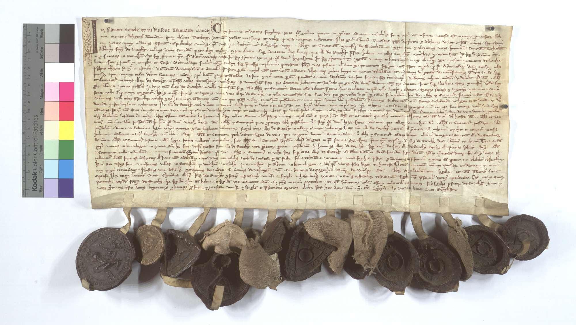 Die Ritter Albert und Konrad von Niefern und Diether von Lomersheim entscheiden Streitigkeiten der Herren von Enzberg mit dem Kloster Maulbronn., Text