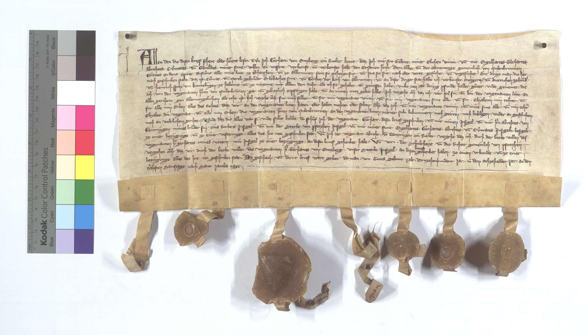 Gerhard von Enzberg verkauft dem Kloster Maulbronn seine Leibeigenen in Ötisheim und Ölbronn., Text