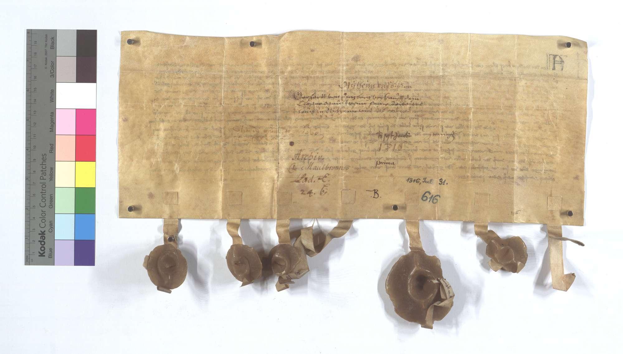 Gerhard von Enzberg verkauft dem Kloster Maulbronn seine Leibeigenen in Ötisheim und Ölbronn., Rückseite
