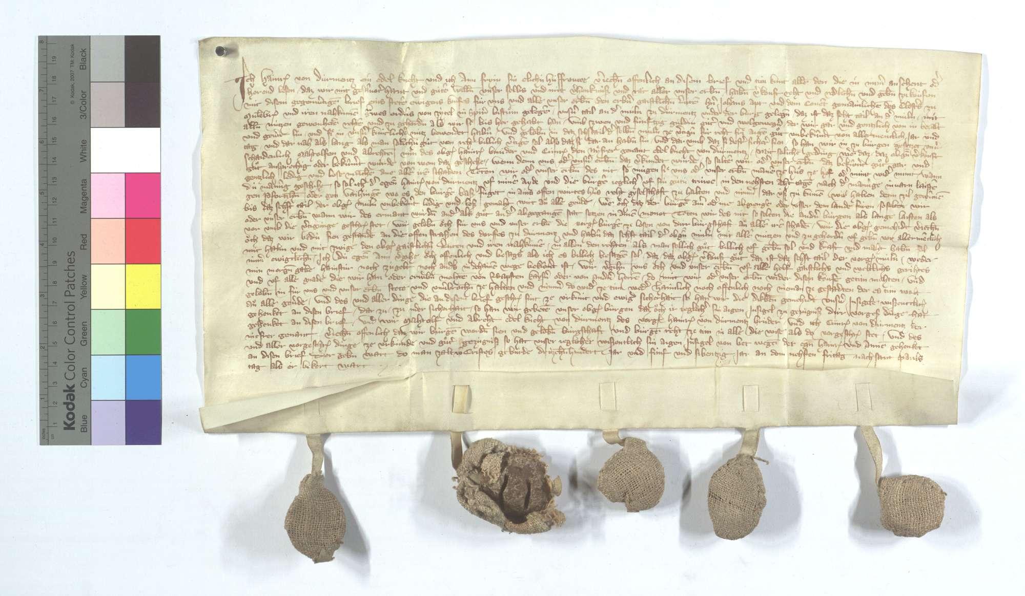 Heinrich von Dürrmenz verkauft dem Kloster Maulbronn 1/6 an der Mühle und Burg in Dürrmenz., Text
