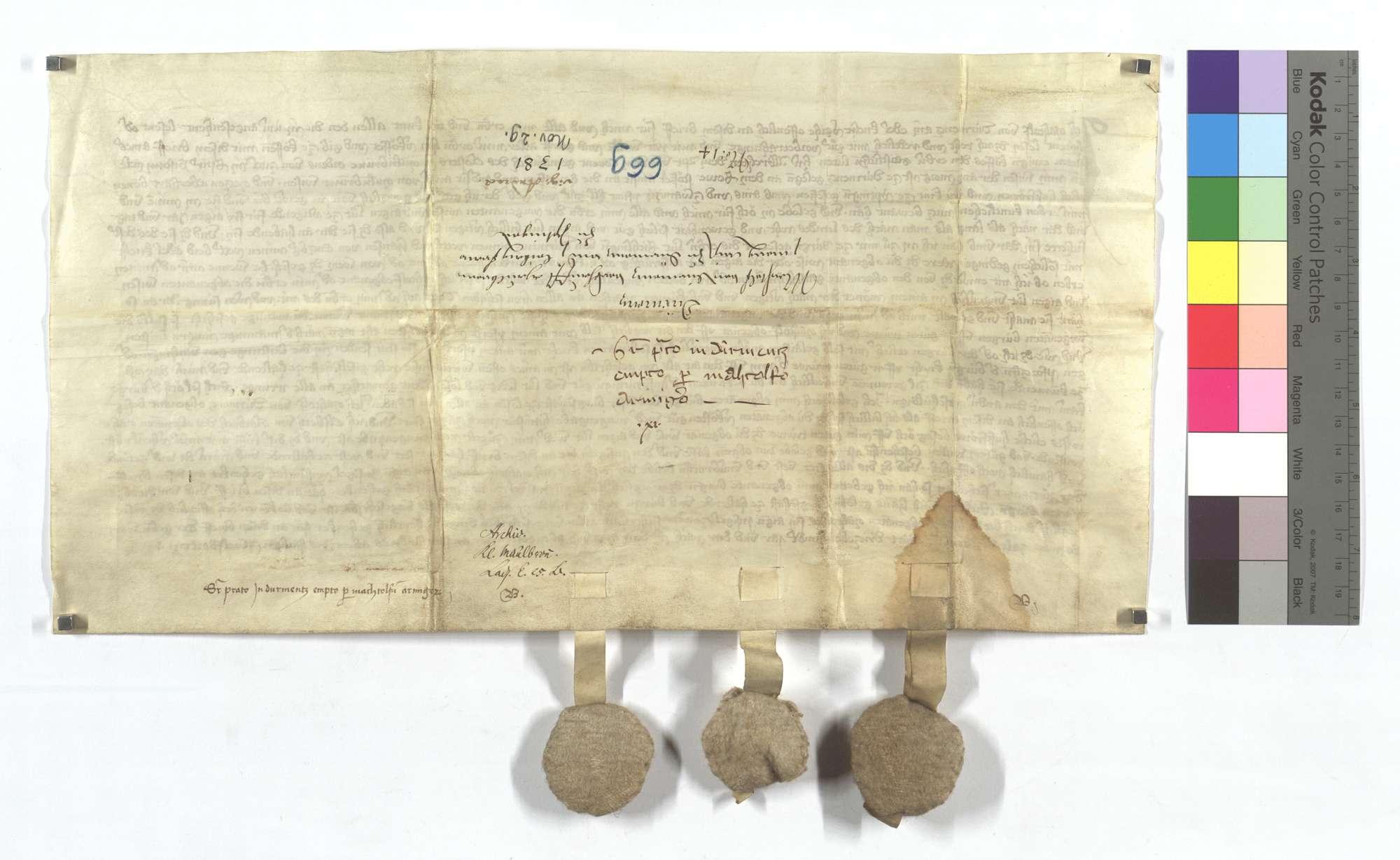 Machtolf von Dürrmenz verkauft dem Kloster Maulbronn eine Wiese in Dürrmenz und eine leibeigene Frau in Iptingen., Rückseite
