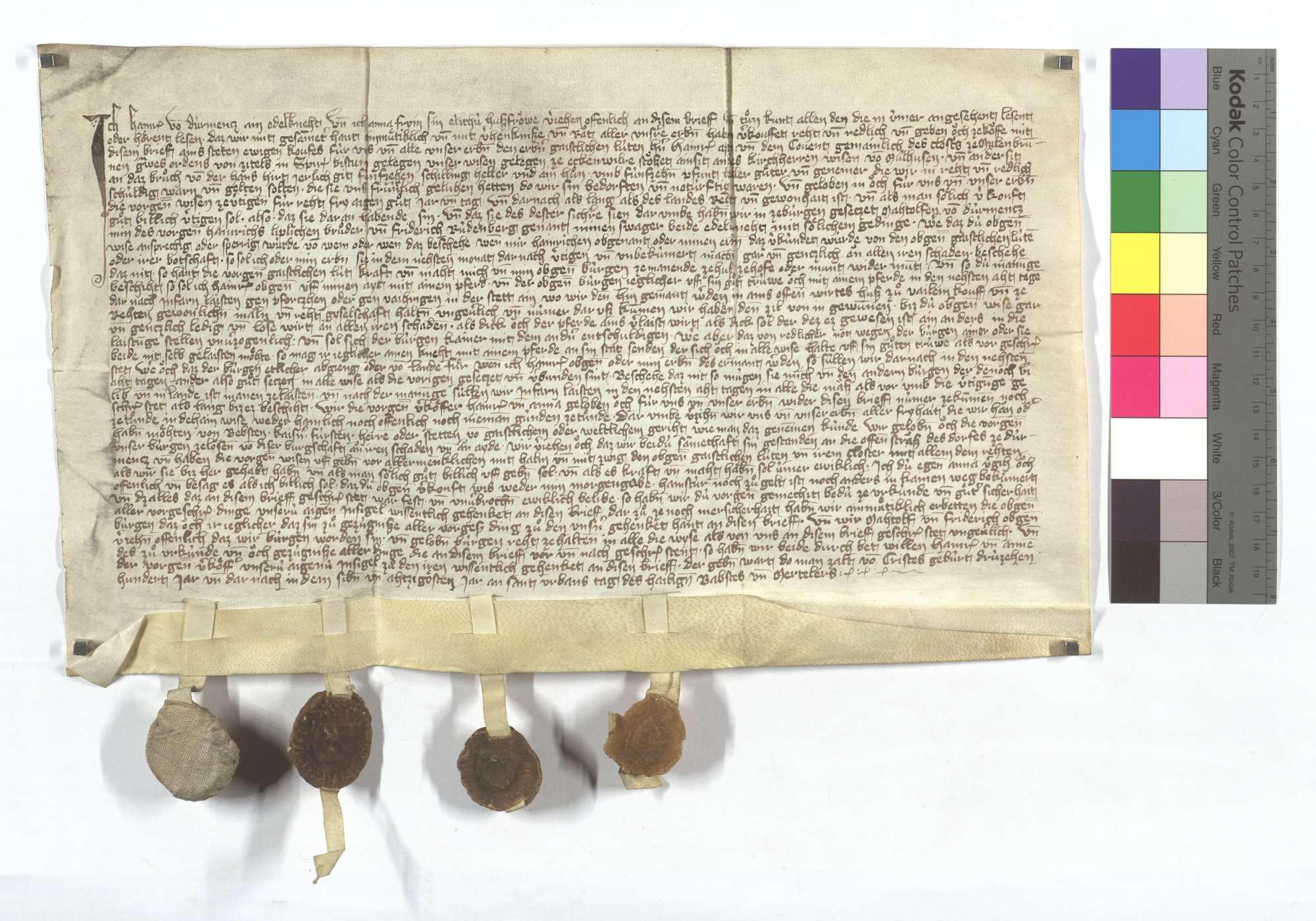 Heinrich von Dürrmenz verkauft dem Kloster Maulbronn eine Wiese in Eckenweiher., Text