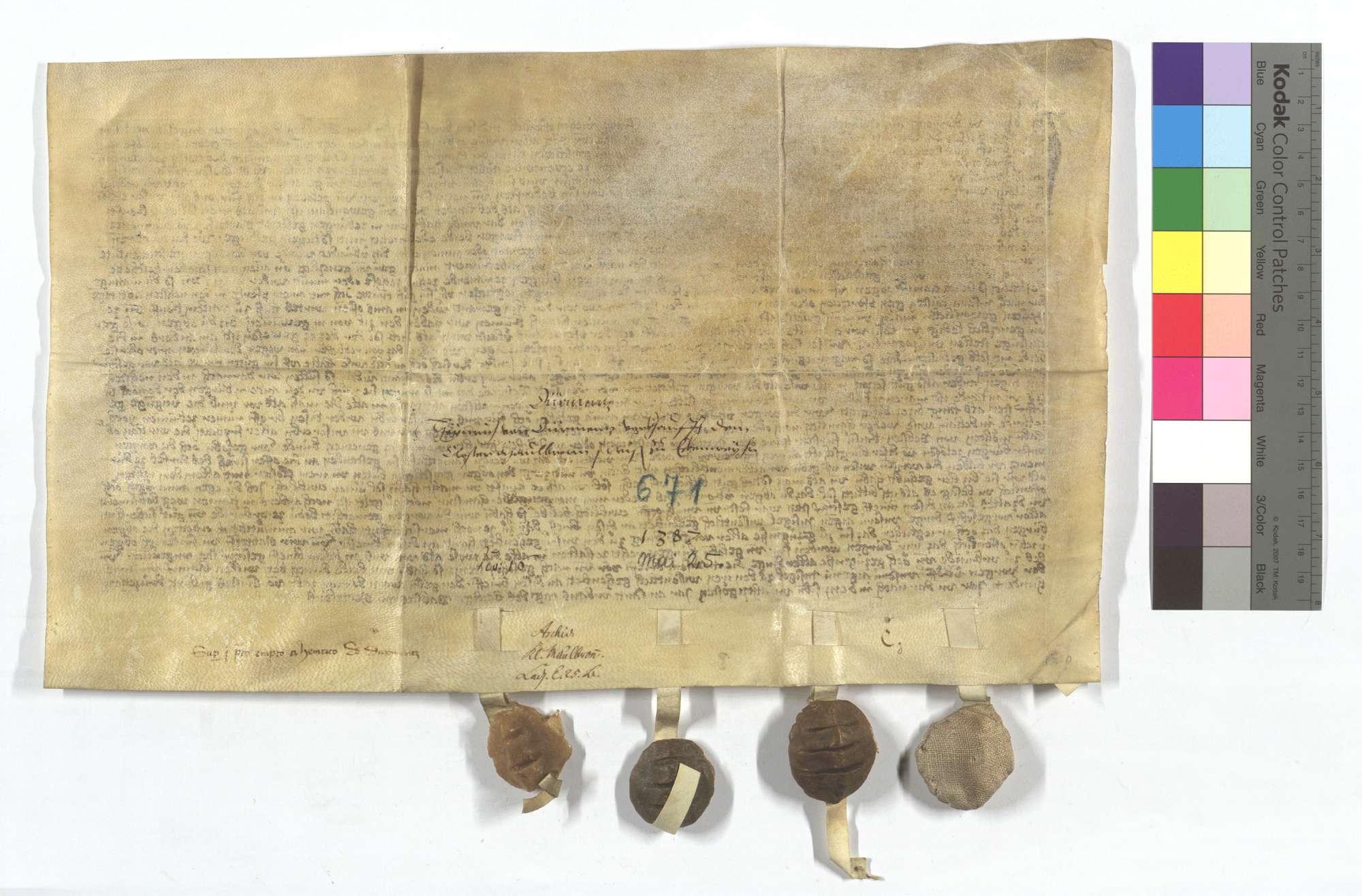 Heinrich von Dürrmenz verkauft dem Kloster Maulbronn eine Wiese in Eckenweiher., Rückseite