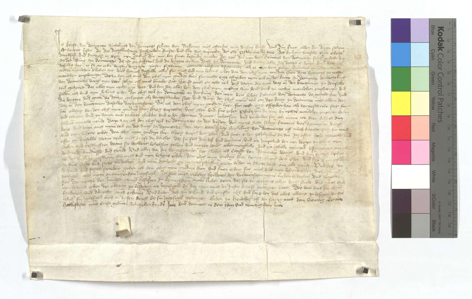 Craft von Dürrmenz, Sichlings von Dürrmenz sel. Sohn, stellt dem Pfalzgrafen Ruprecht dem Älteren bei Rhein über das Achtel an der Burg in Dürrmenz, das vorher sein Vetter selig, Heinrich von Dürrmenz, gehabt hat, einen Lehensrevers aus., Text