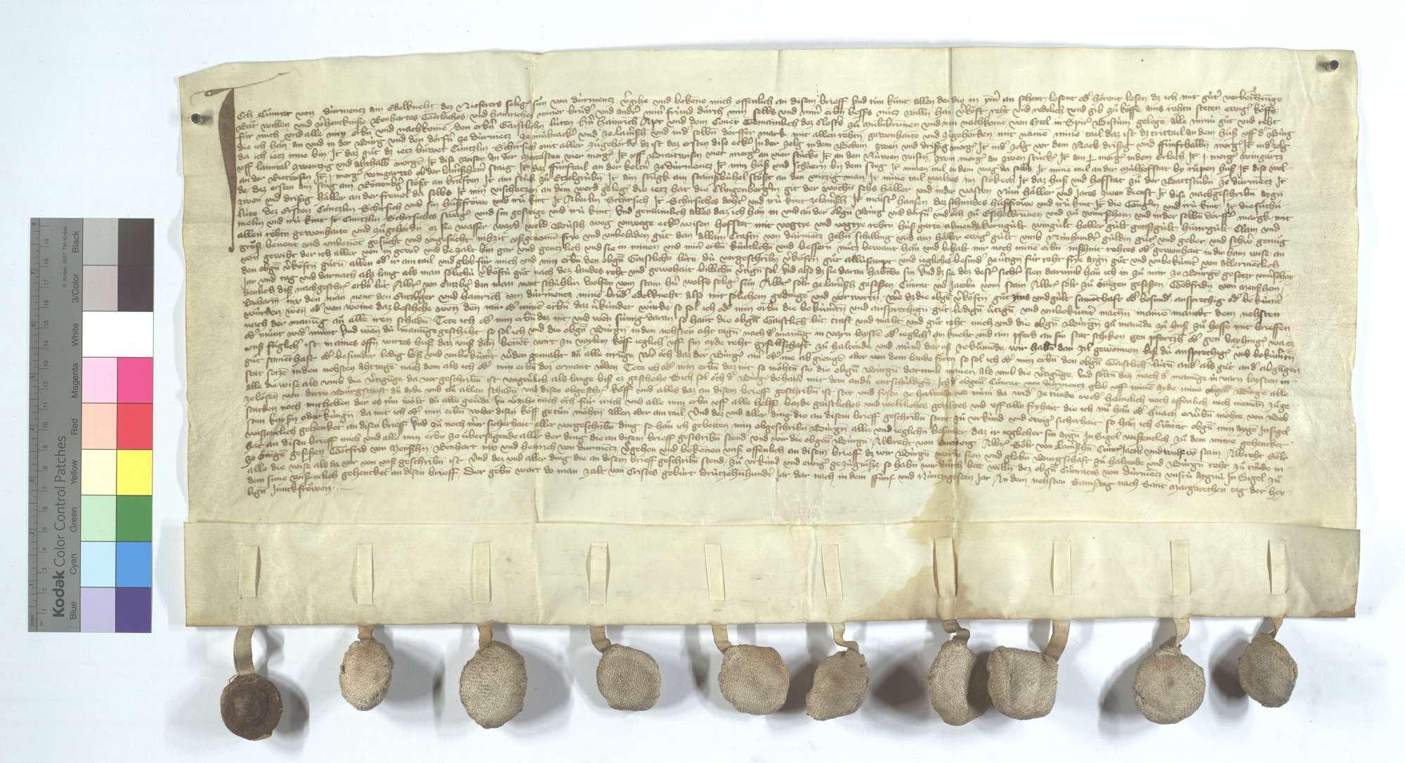 Conrad von Dürrmenz verkauft dem Kloster Maulbronn all sein Einkommen und Gerechtsame in Dürrmenz, Mühlacker (Mülacker), Lomersheim, Öschelbronn (Eschelbronn) und Wiernsheim., Text