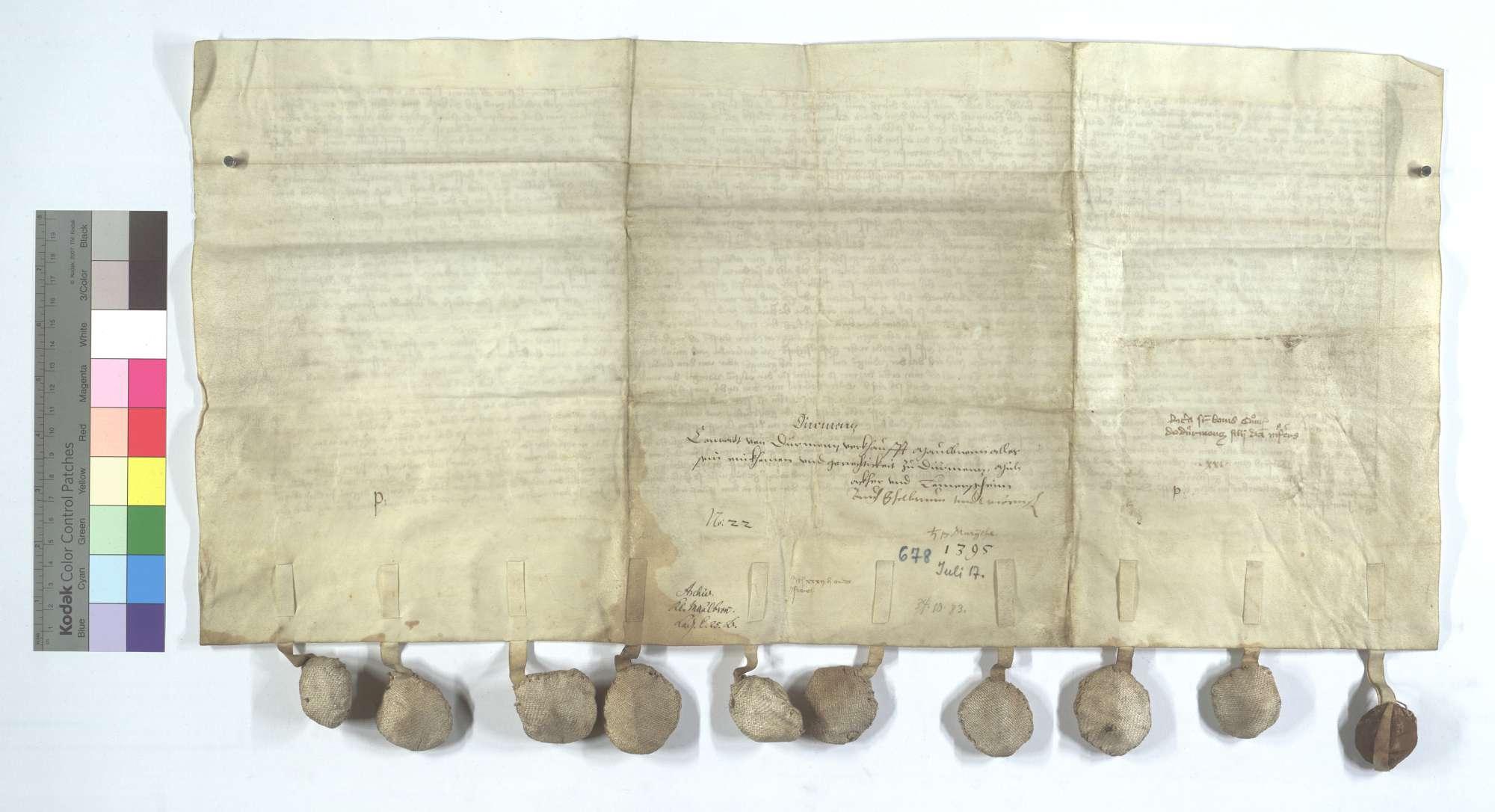 Conrad von Dürrmenz verkauft dem Kloster Maulbronn all sein Einkommen und Gerechtsame in Dürrmenz, Mühlacker (Mülacker), Lomersheim, Öschelbronn (Eschelbronn) und Wiernsheim., Rückseite