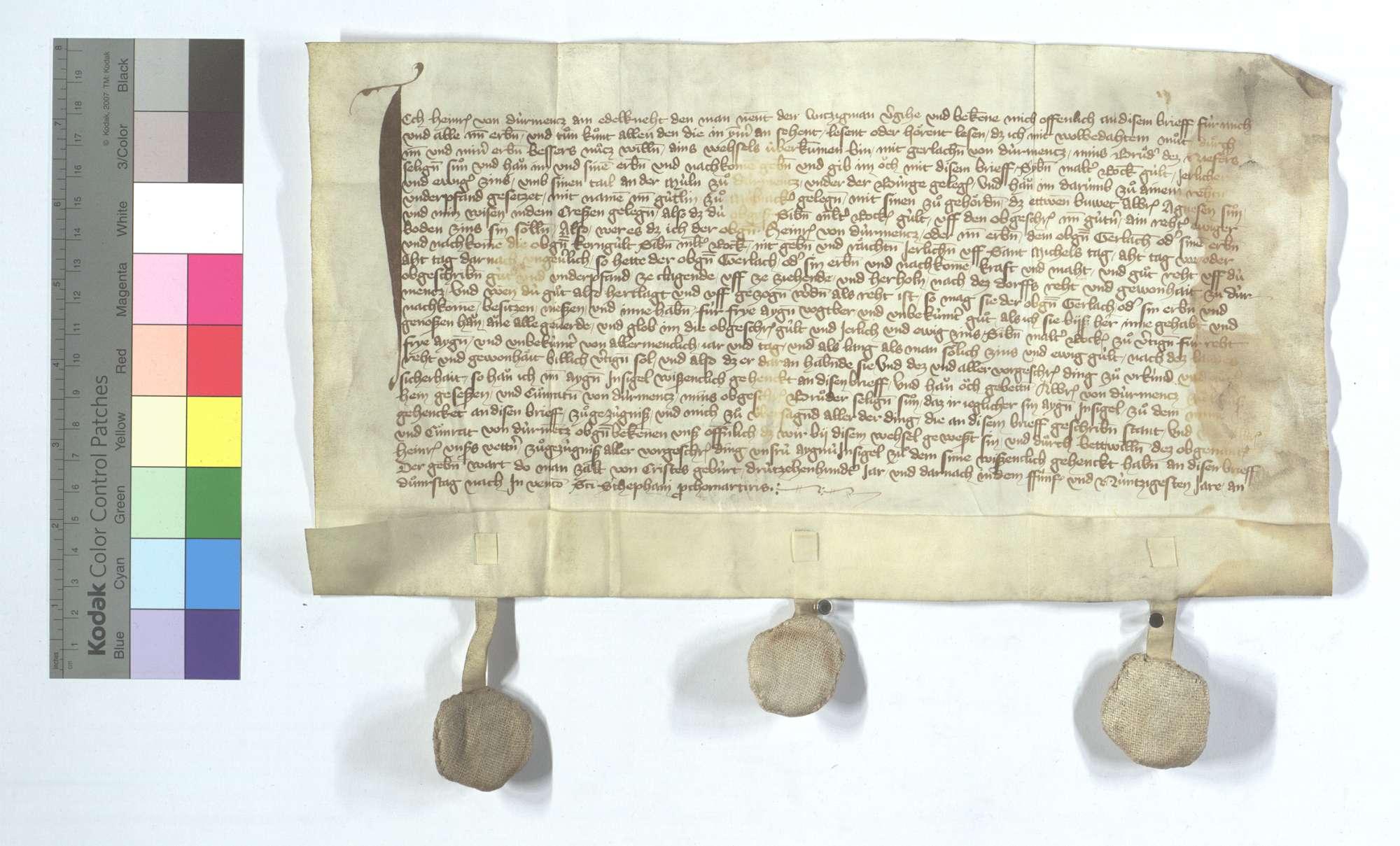 Heinrich von Dürrmenz übergibt seines Bruders Sohn Gerlach 7 Malter Roggen jährliche Gült um dessen Teil an der Mühle unter der Burg in Dürrmenz., Text