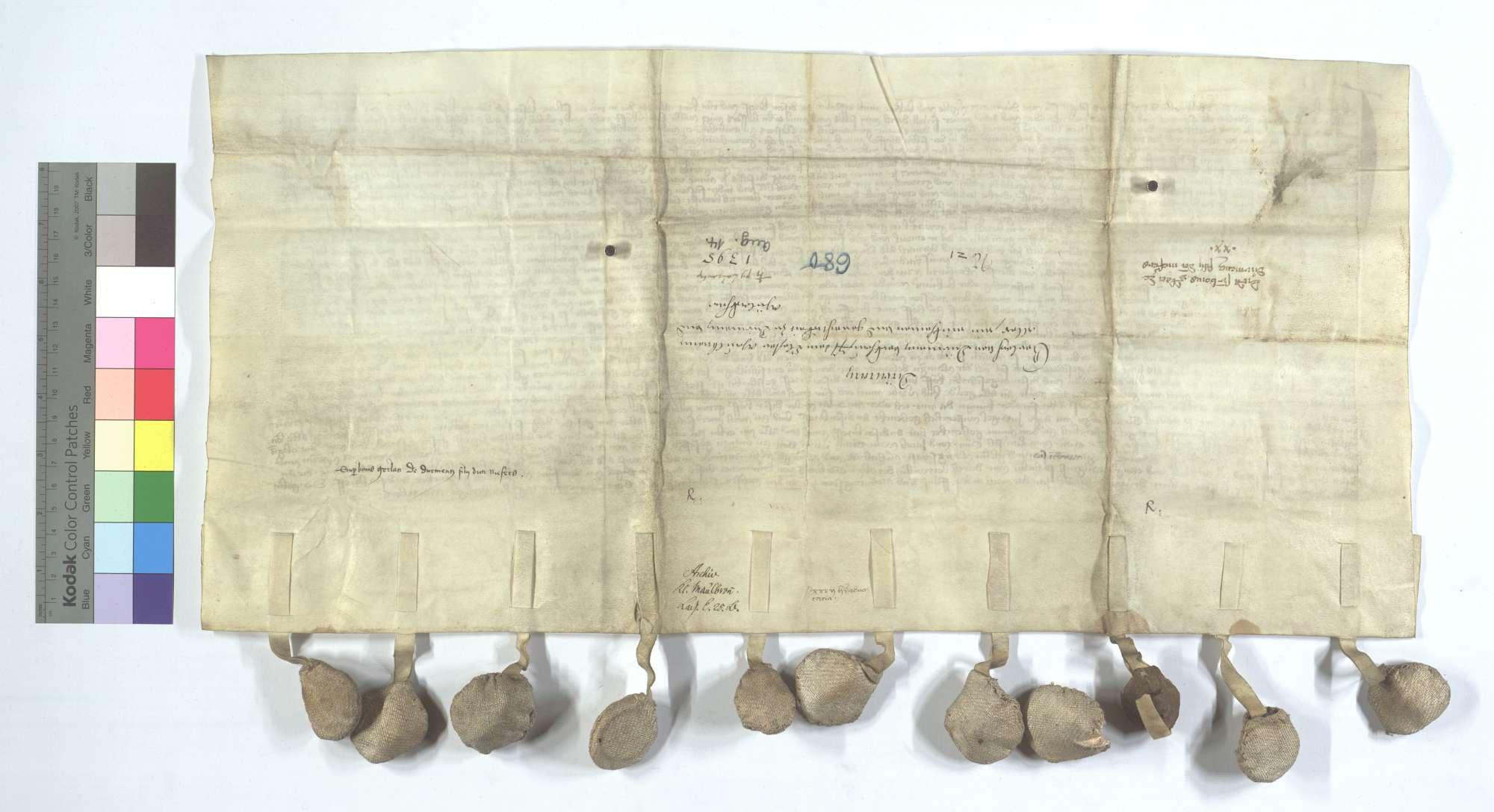 Gerlach von Dürrmenz verkauft dem Kloster Maulbronn all sein Einkommen und Gerechtsame zu Dürrmenz und Mühlacker (Mülacker)., Rückseite
