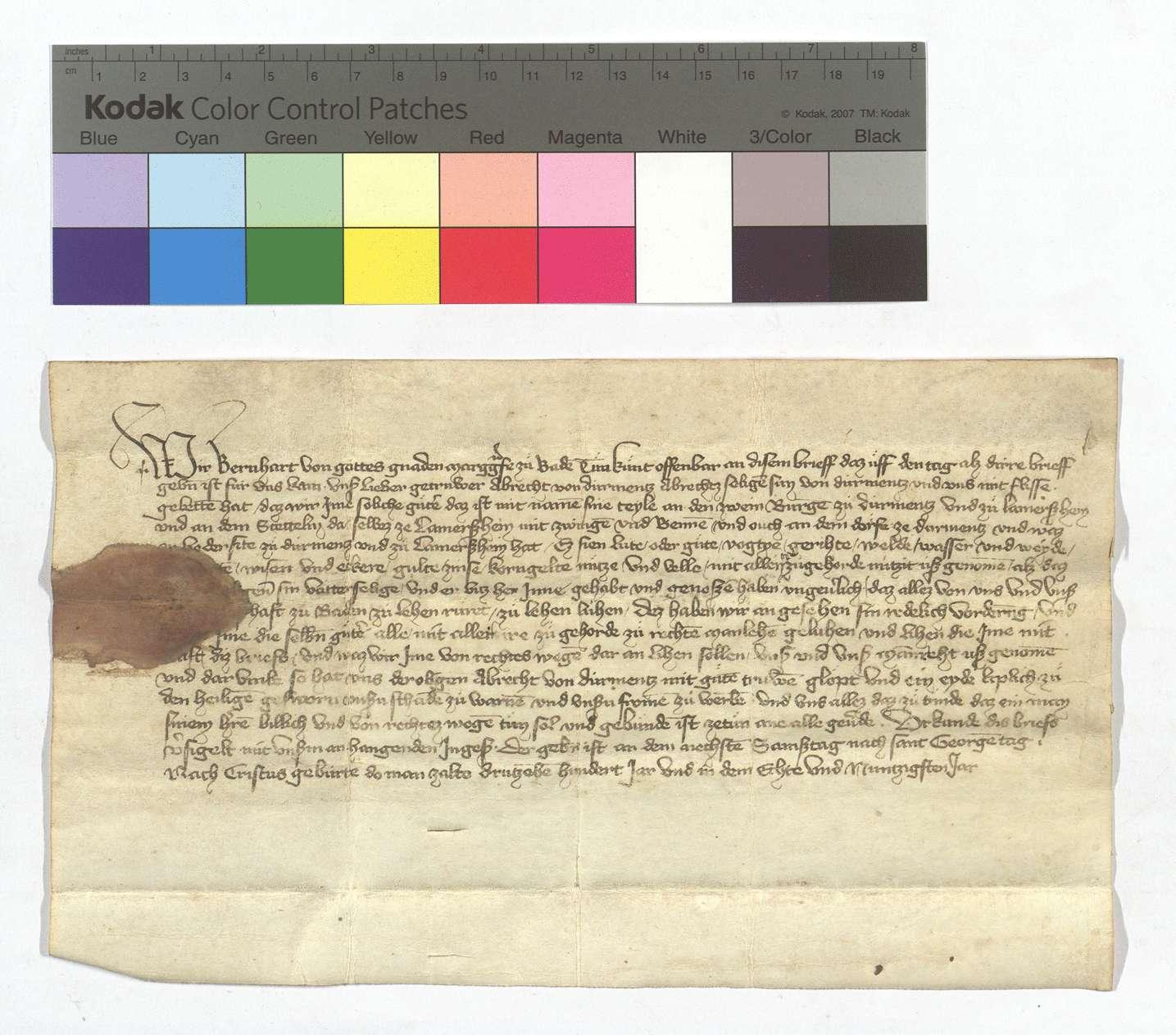 Lehensbrief Markgraf Bernharts von Baden für Albrecht von Dürrmenz um seine Güter in Lomersheim und Dürrmenz., Text
