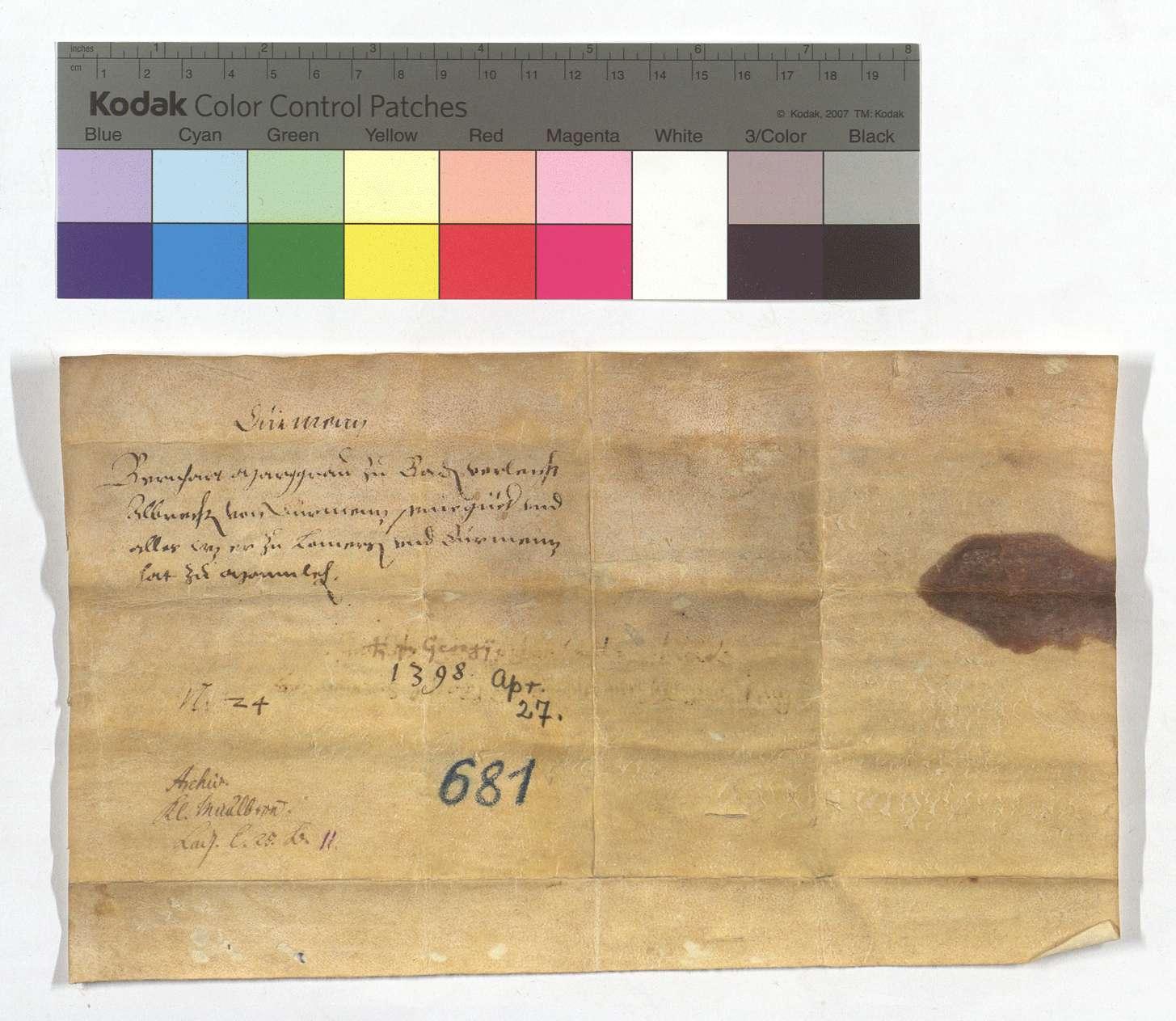 Lehensbrief Markgraf Bernharts von Baden für Albrecht von Dürrmenz um seine Güter in Lomersheim und Dürrmenz., Rückseite