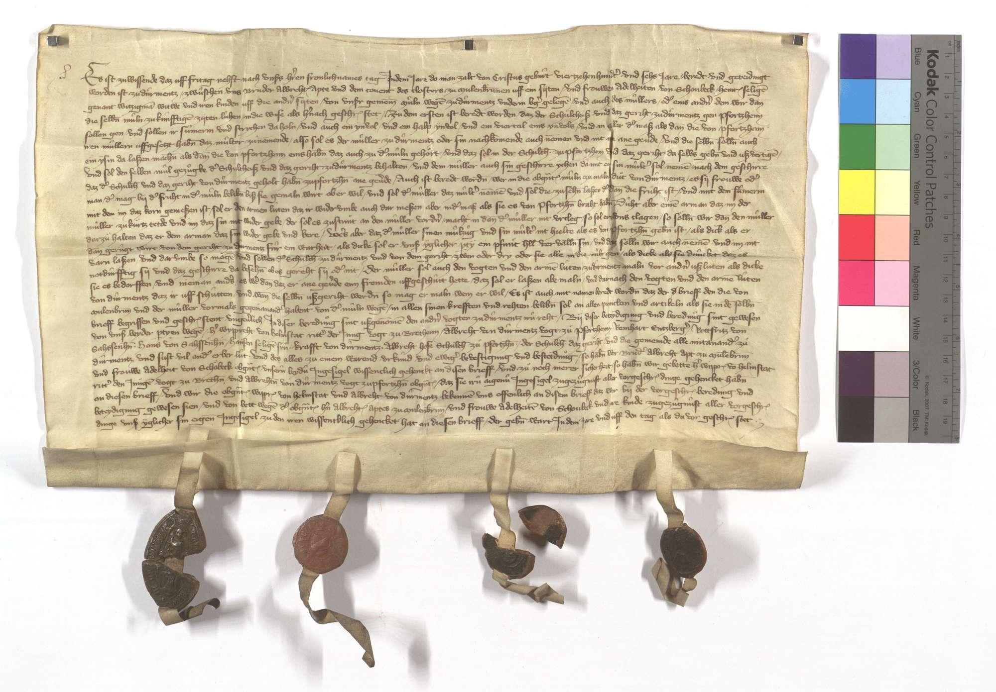 Fertigung zwischen dem Kloster Maulbronn und Adelheid von Schonbeck (Schöbeck), wie es mit dem Müller in der Mühle in Dürrmenz gehalten werden solle., Text