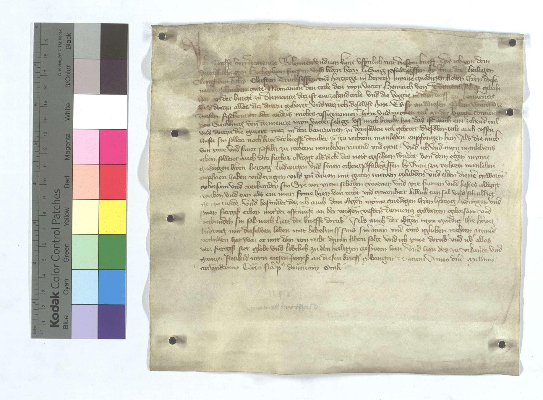 Craft von Dürrmenz stellt dem Pfalzgrafen Ludwig bei Rhein über seinen Anteil an der Burg in Dürrmenz mit Zugehörden einen Lehensbrief aus., Text