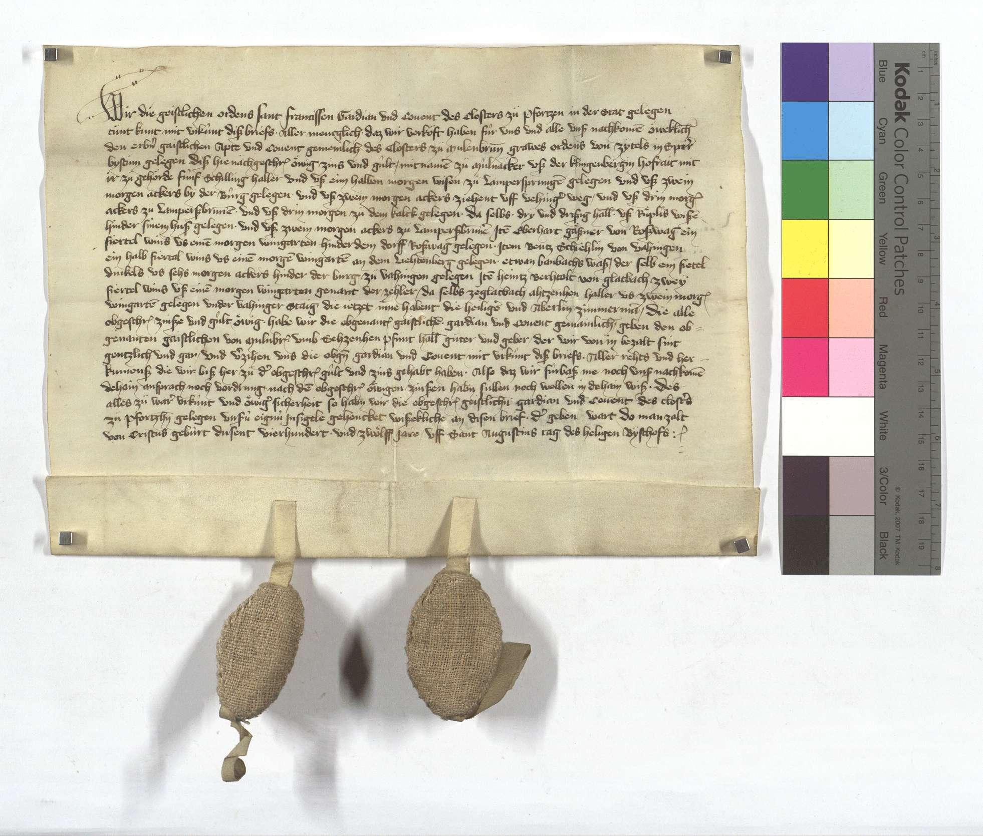 Die Franziskanermönche in Pforzheim verkaufen dem Kloster Maulbronn etliche Zinsen und Gülten in Dürrmenz, Roßwag und Glattbach (Glatbach)., Text