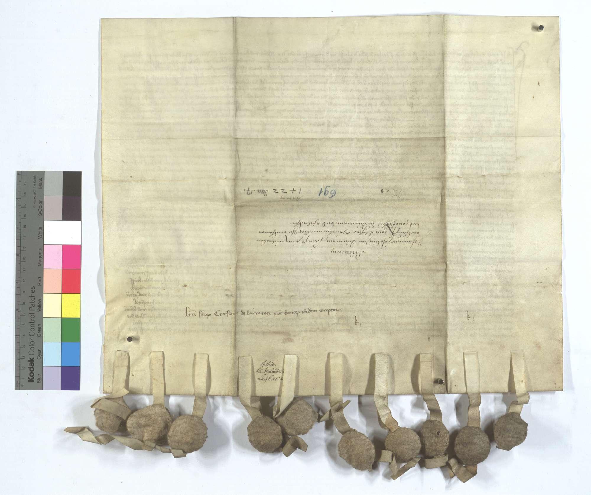 Johann Sicheling von Dürrmenz und seine Geschwister verkaufen dem Kloster Maulbronn all ihr Einkommen und Gerechtsame in Dürrmenz und Mühlacker (Mülacker)., Rückseite