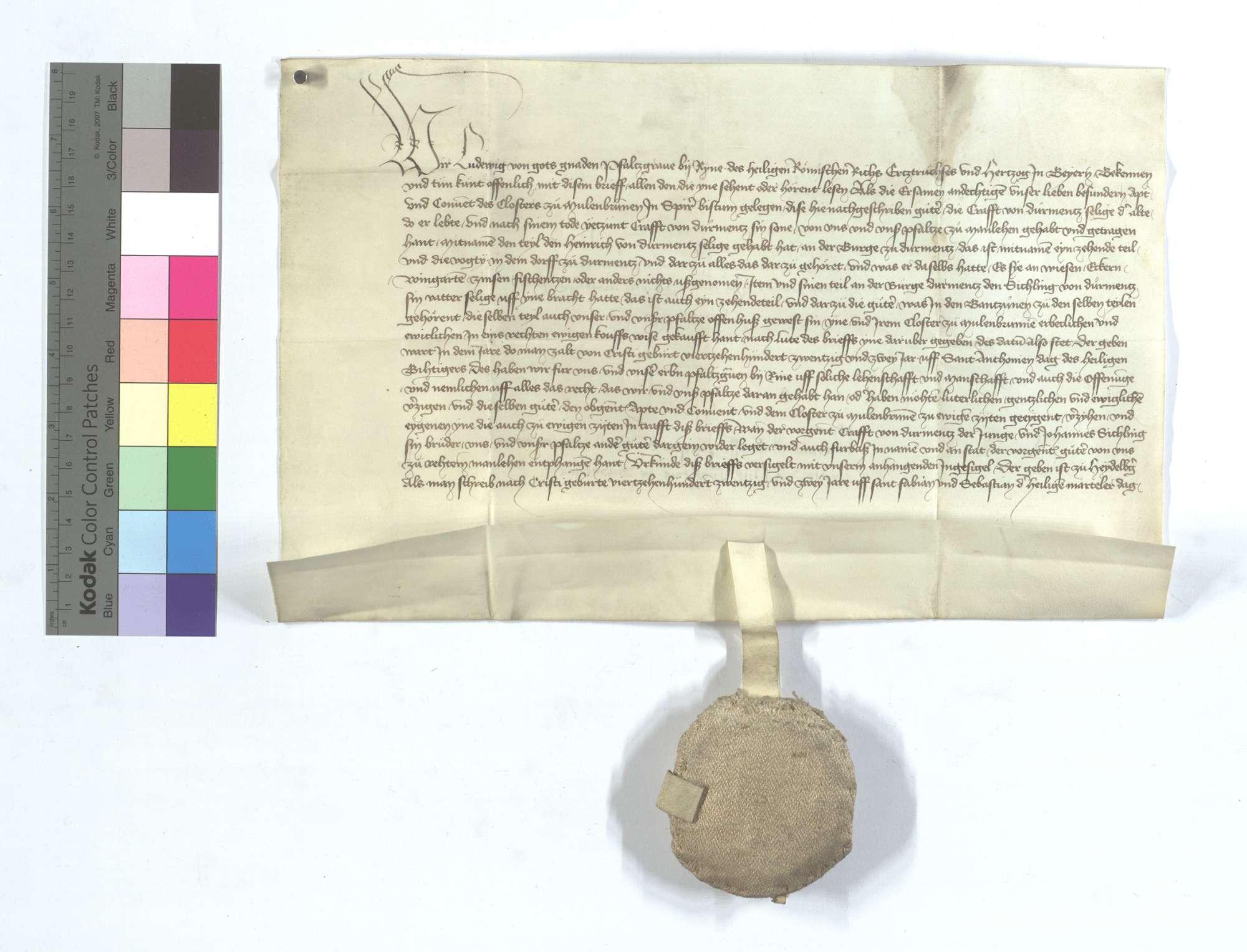 Kurfürst Ludwig von der Pfalz freit und eignet dem Kloster Maulbronn die Güter in Dürrmenz, die ihm zu Lehen gegangen sind, welche Güter die Edlen von Dürrmenz mit anderen Lehensgütern widerlegt haben., Text