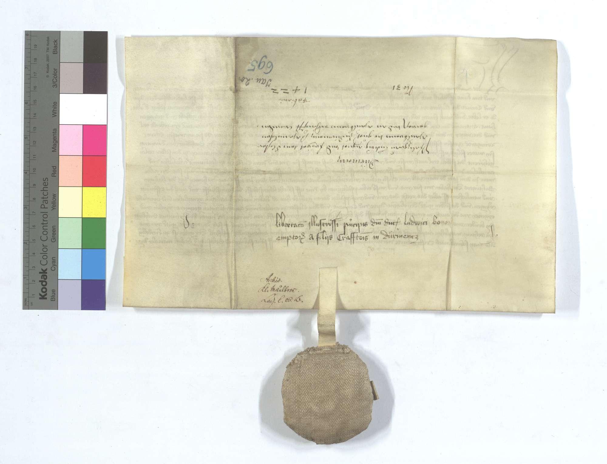 Kurfürst Ludwig von der Pfalz freit und eignet dem Kloster Maulbronn die Güter in Dürrmenz, die ihm zu Lehen gegangen sind, welche Güter die Edlen von Dürrmenz mit anderen Lehensgütern widerlegt haben., Rückseite