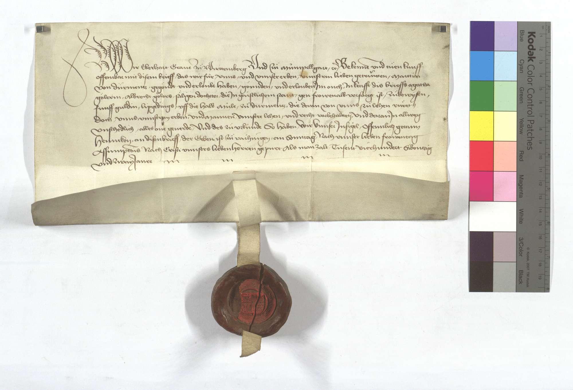 Bewilligung Graf Eberhards von Württemberg (Wirtemberg), dass Martin von Dürrmenz Albrecht Gölers Tochter 5 Gulden Leibgeding auf der Mühle in Dürrmenz, die von Württemberg (Wirtemberg) zu Lehen rühren, anweisen möge., Text