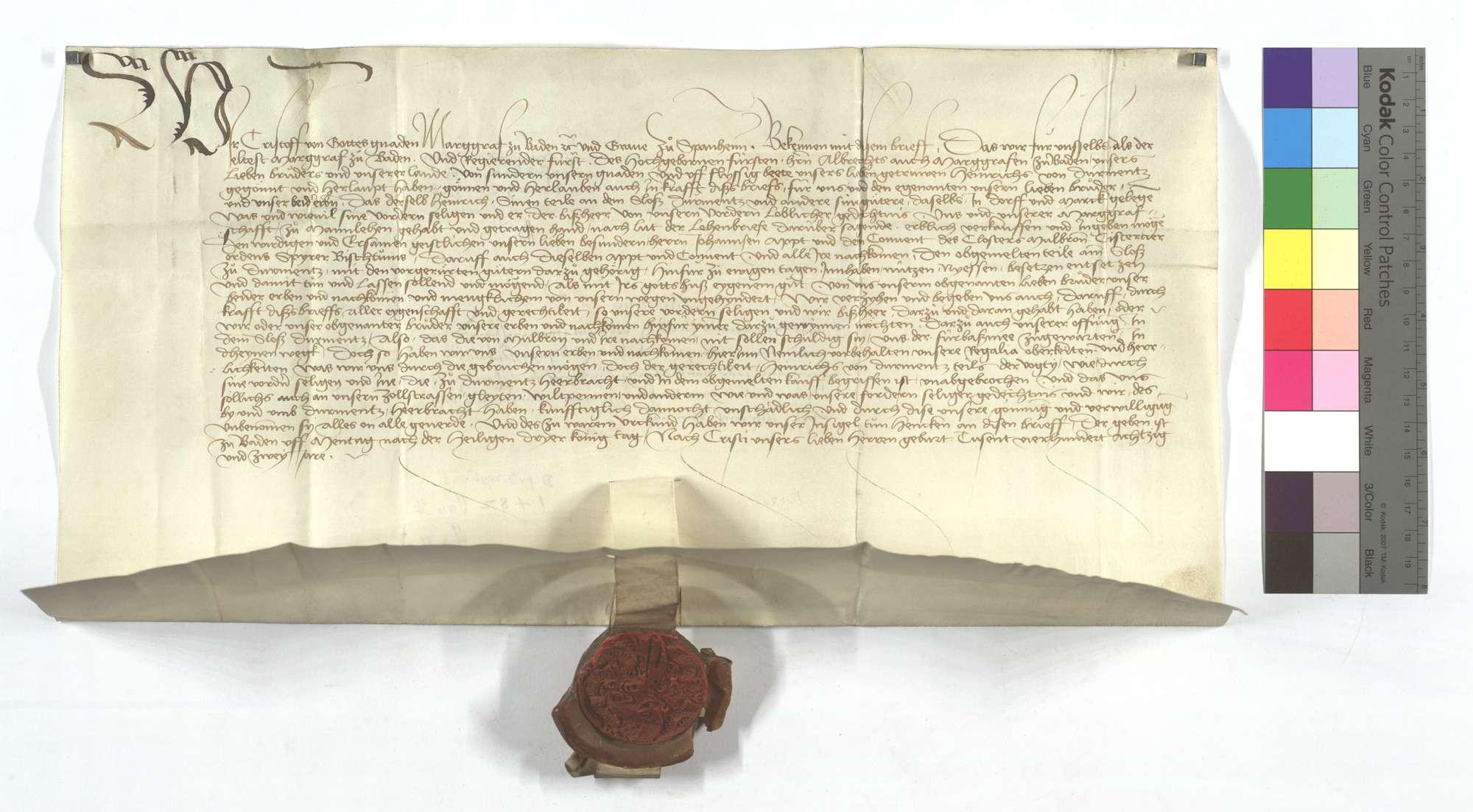Markgraf Christoph von Badens Bewilligung für Heinrich von Dürrmenz, seine ihm zu Lehen habende Gerechtsame und Güter in Dürrmenz dem Kloster Maulbronn zu verkaufen sowie die Freiung derselben Güter., Text