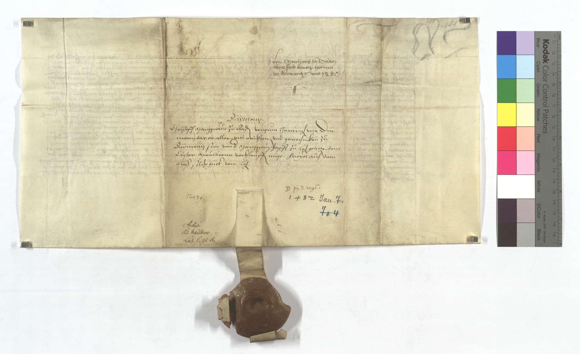 Markgraf Christoph von Badens Bewilligung für Heinrich von Dürrmenz, seine ihm zu Lehen habende Gerechtsame und Güter in Dürrmenz dem Kloster Maulbronn zu verkaufen sowie die Freiung derselben Güter., Rückseite