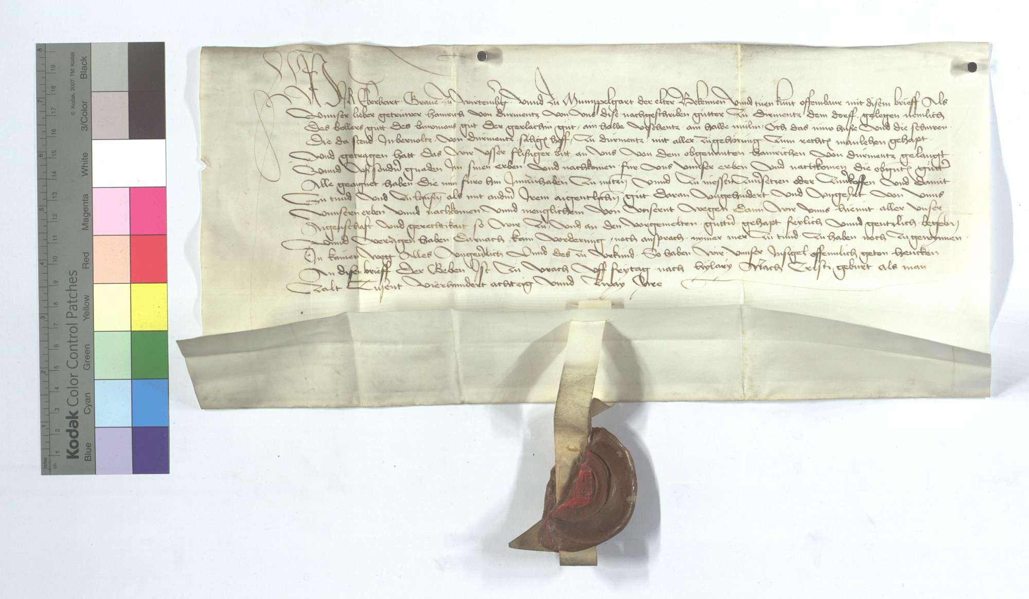 Graf Eberhard von Württemberg (Wirtemberg) freit und eignet Heinrich von Dürrmenz etliche Güter in Dürrmenz, die Mannlehen gewesen sind., Text