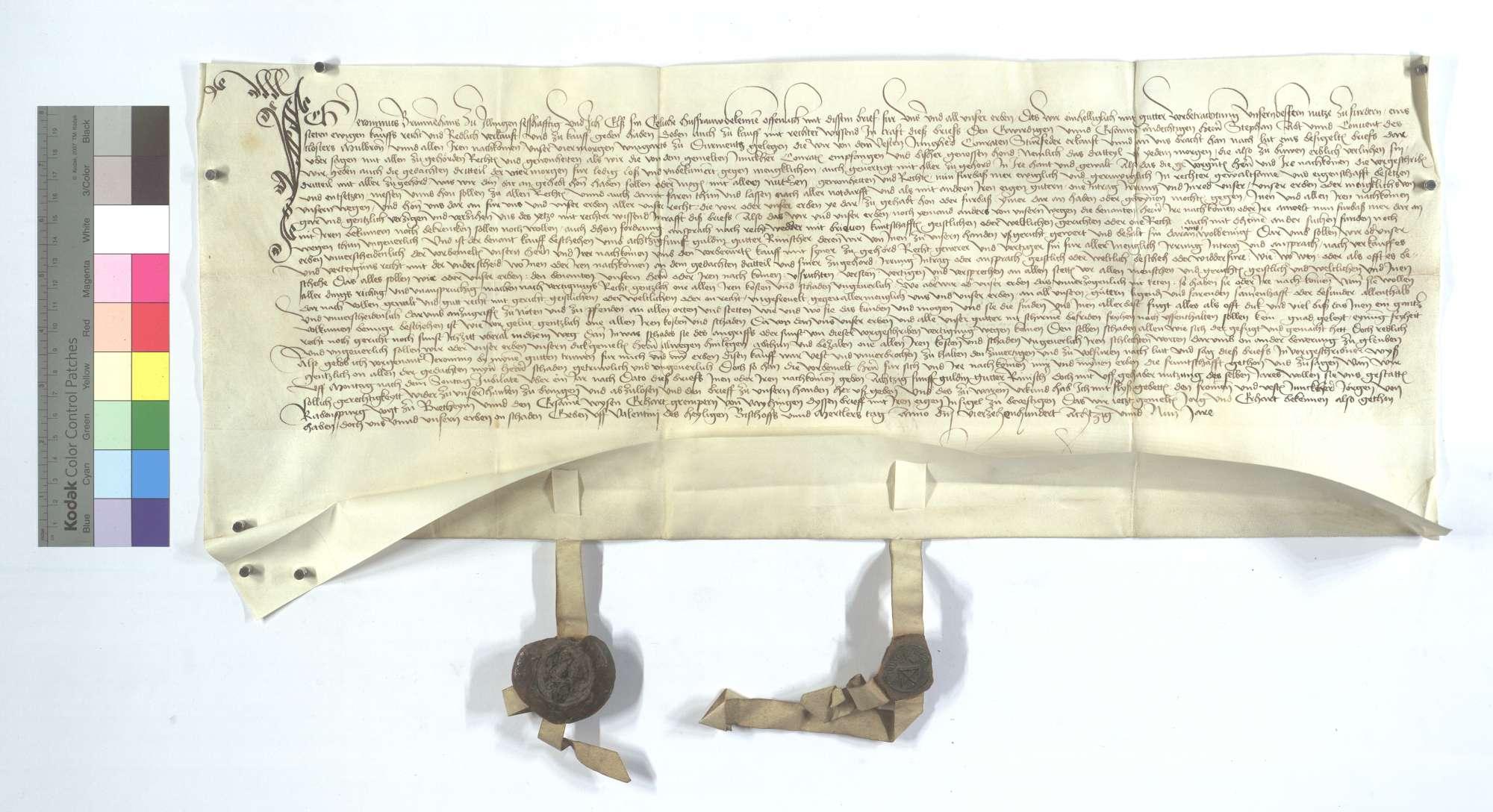 Jeronimus Brunnehans von Illingen verkauft dem Kloster Maulbronn sein Drittel Wein aus 4 Morgen Weingarten in Dürrmenz., Text