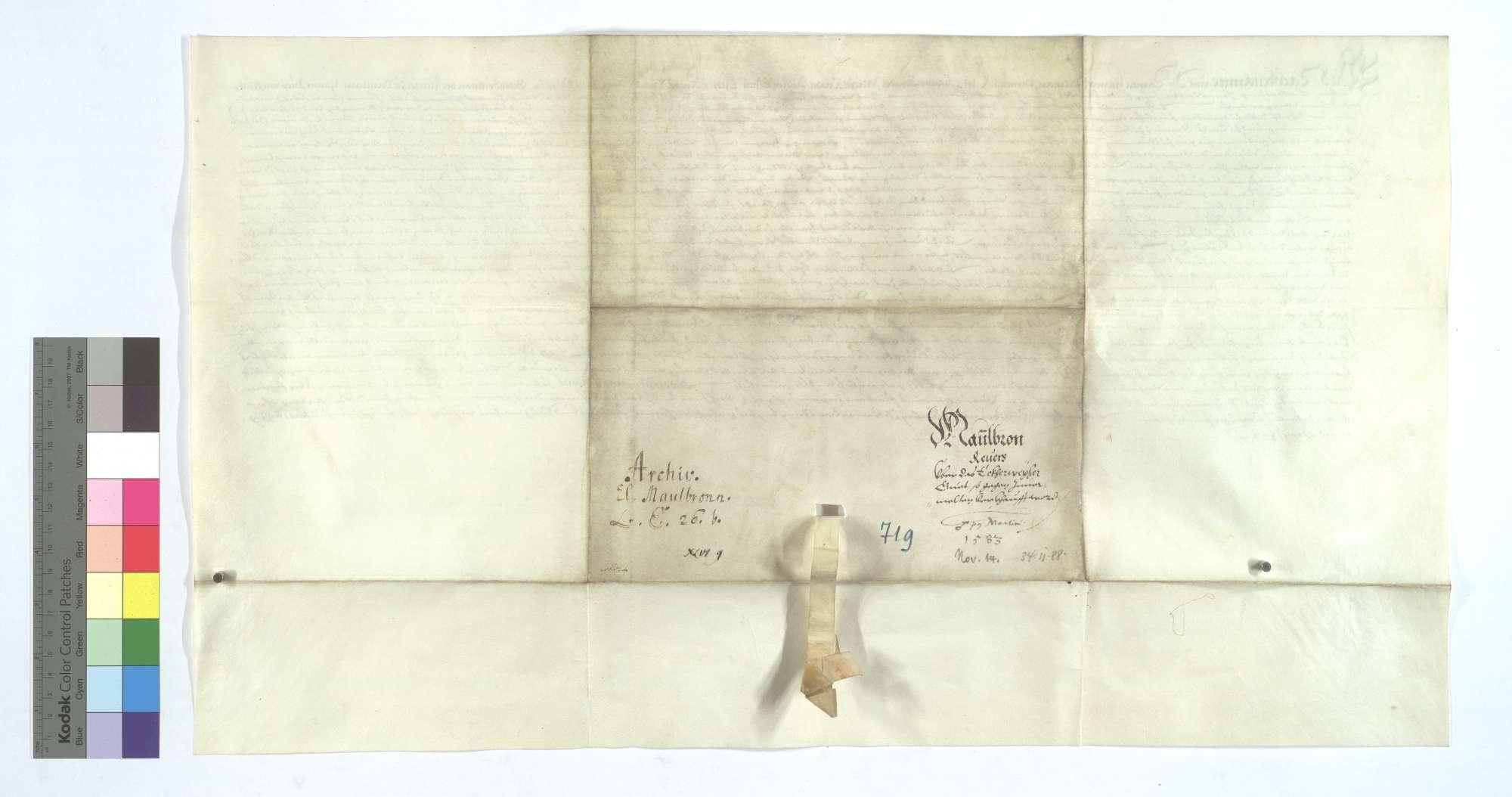 Revers Hans Spielmanns und Konsorten um das dem Kloster Maulbronn verkaufte sogenannte Eckenweiherer Gut., Rückseite