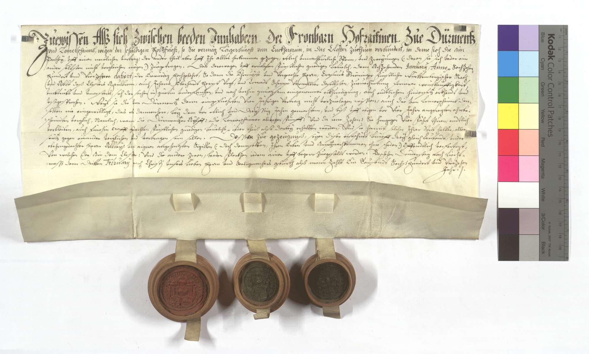 Vertrag über die zwischen Dürrmenz und Lomersheim strittige Holzfuhr., Text