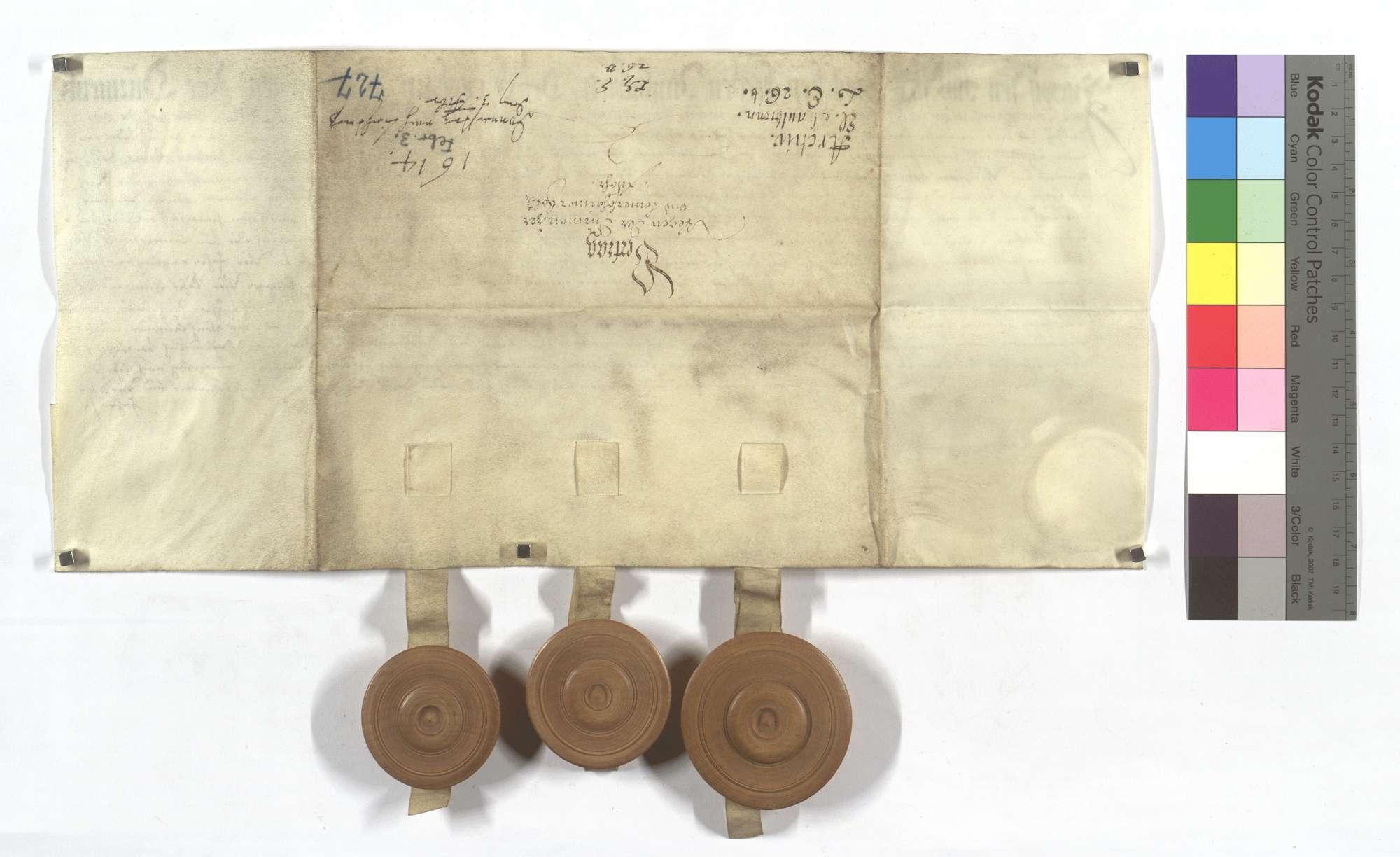 Vertrag über die zwischen Dürrmenz und Lomersheim strittige Holzfuhr., Rückseite