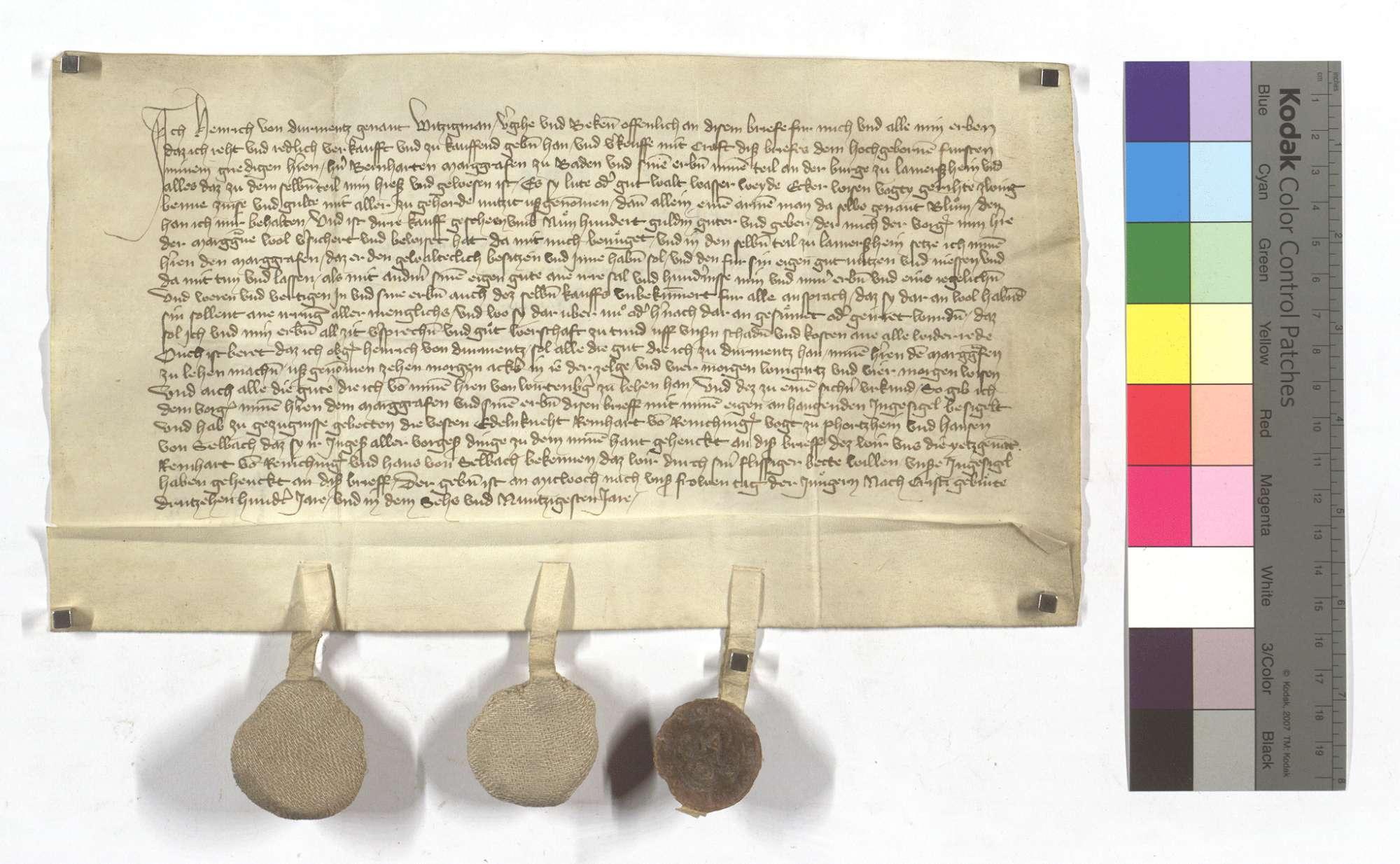 Heinrich von Dürrmenz verkauft seinen Teil an der Burg in Lomersheim mit den Zugehörden, Gütern und Gerechtsame an Markgraf Bernhard von Baden., Text