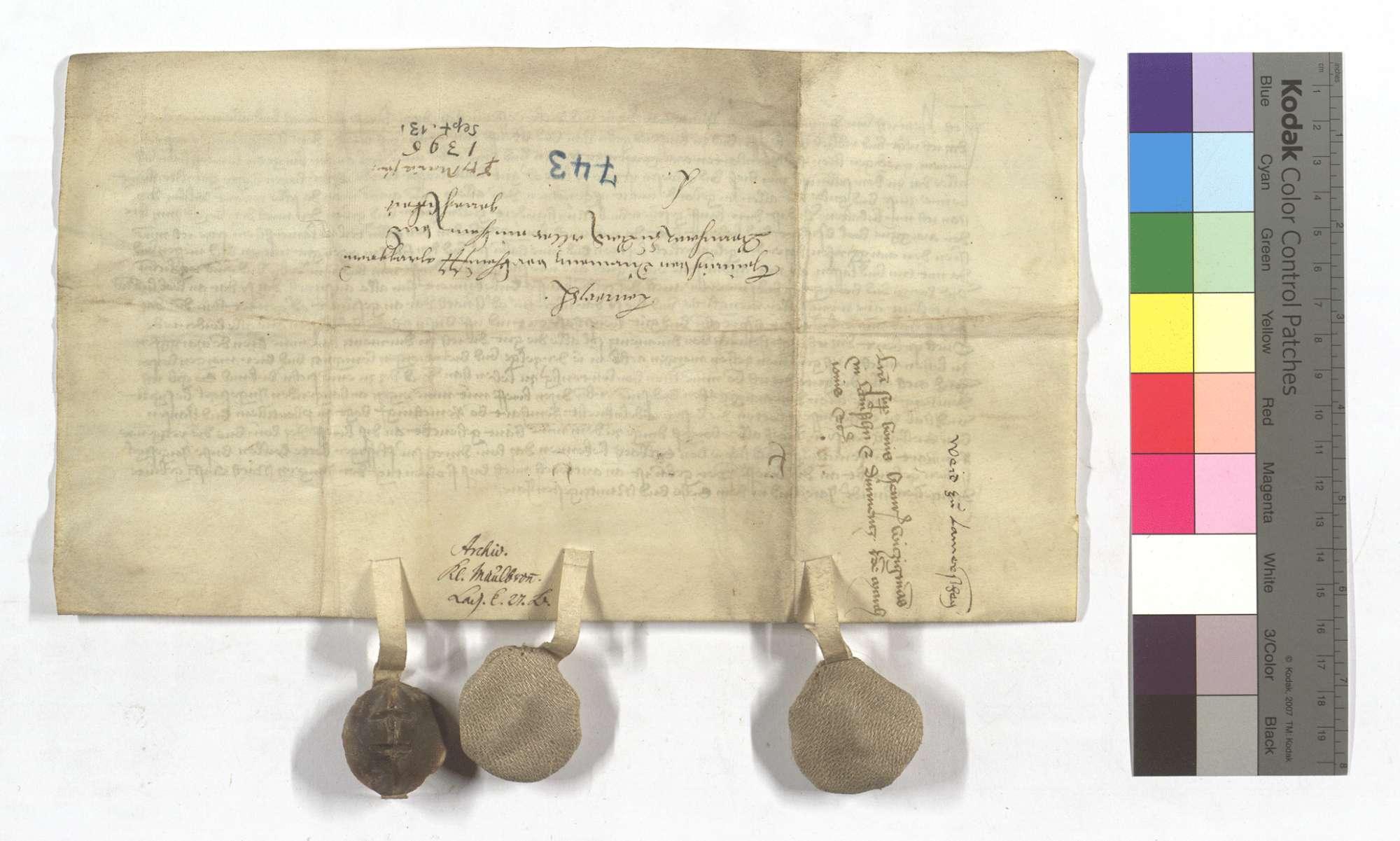Heinrich von Dürrmenz verkauft seinen Teil an der Burg in Lomersheim mit den Zugehörden, Gütern und Gerechtsame an Markgraf Bernhard von Baden., Rückseite