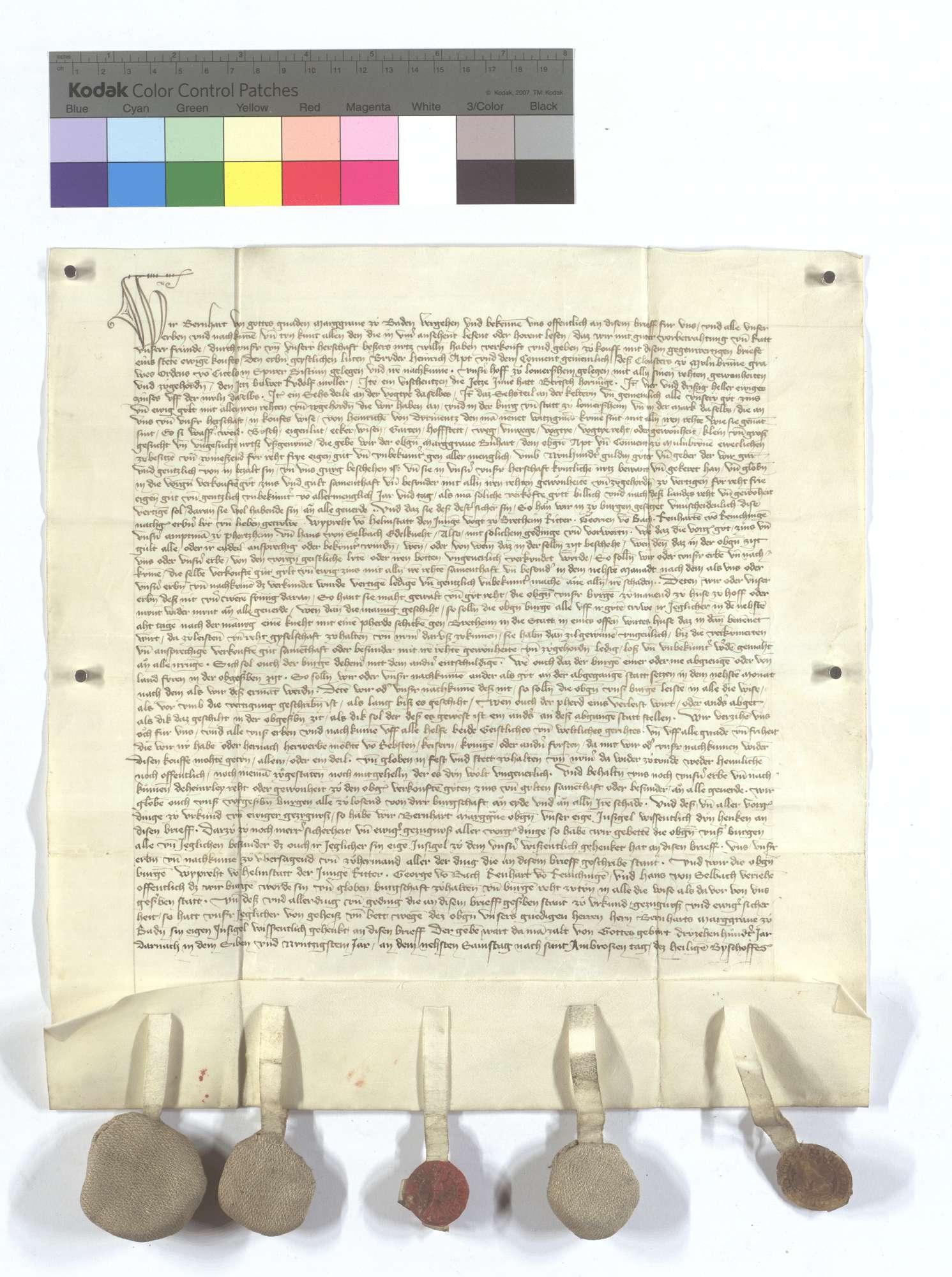 Markgraf Bernhard (I.) von Baden hat dem Kloster Maulbronn seinen Hof, Fischerei, Gülten, Güter und Gerechtsame, die er von Dürrmenz erkauft hat, käuflich überlassen., Text